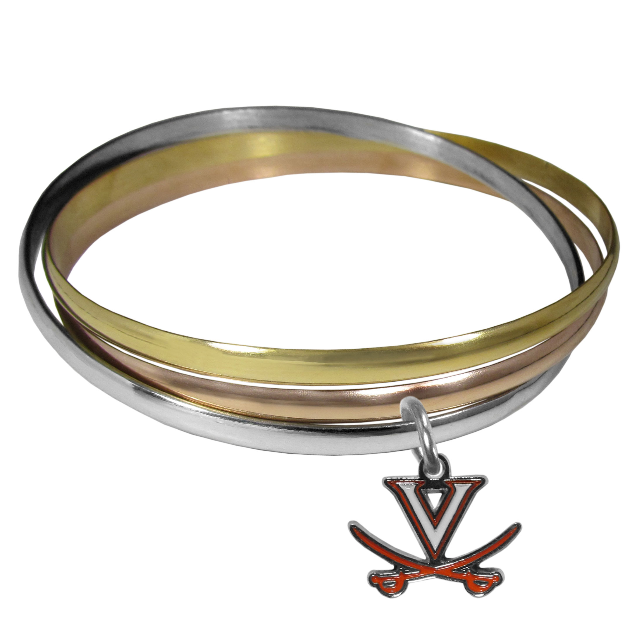 Virginia Cavaliers Tri-color Bangle Bracelet - These beautiful bangles come in a interlocking style and feature a fully cast Virginia Cavaliers charm with enameled team colors. The bracelet has a silver toned bangle, gold tone bangle and brass toned bangle.
