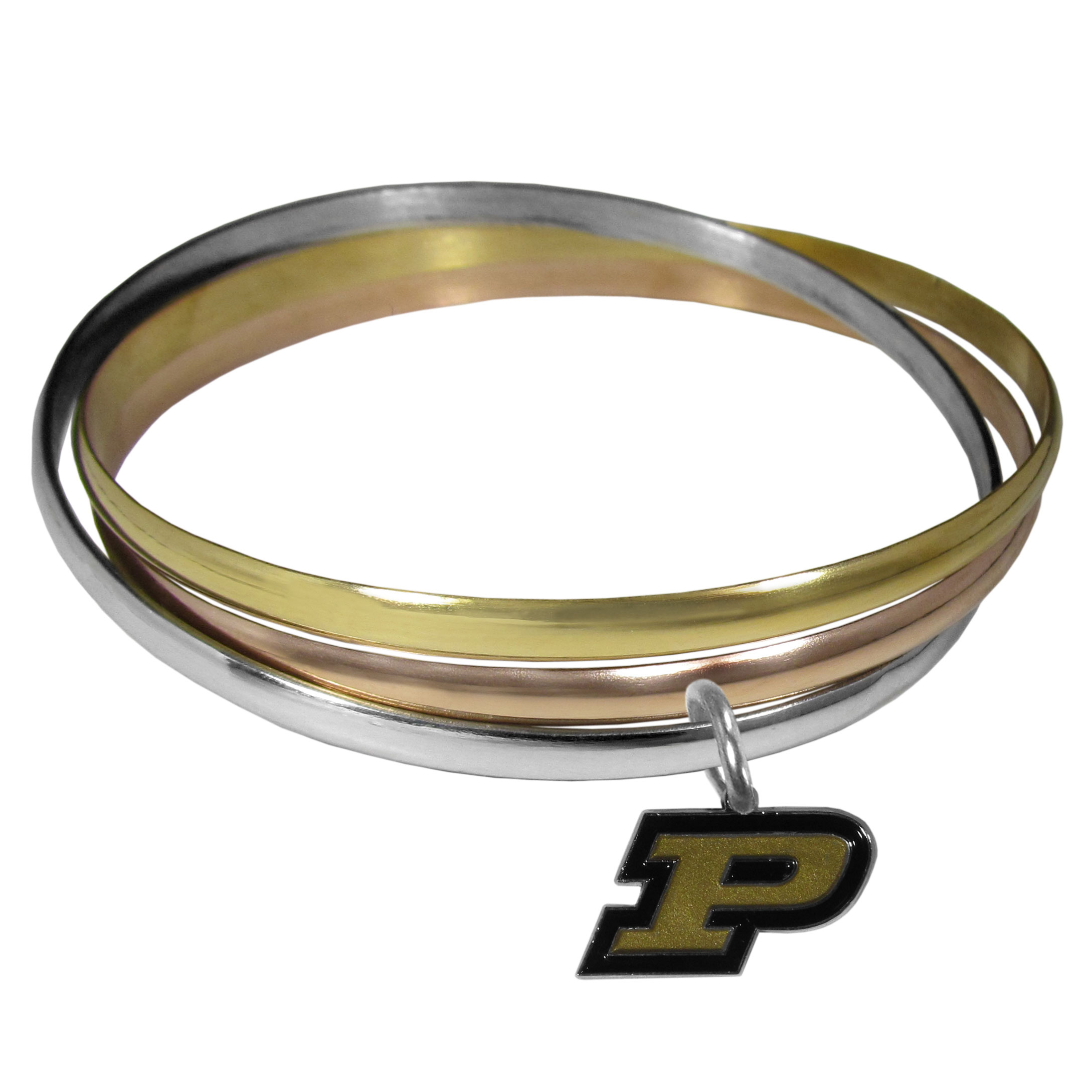 Purdue Boilermakers Tri-color Bangle Bracelet - These beautiful bangles come in a interlocking style and feature a fully cast Purdue Boilermakers charm with enameled team colors. The bracelet has a silver toned bangle, gold tone bangle and brass toned bangle.