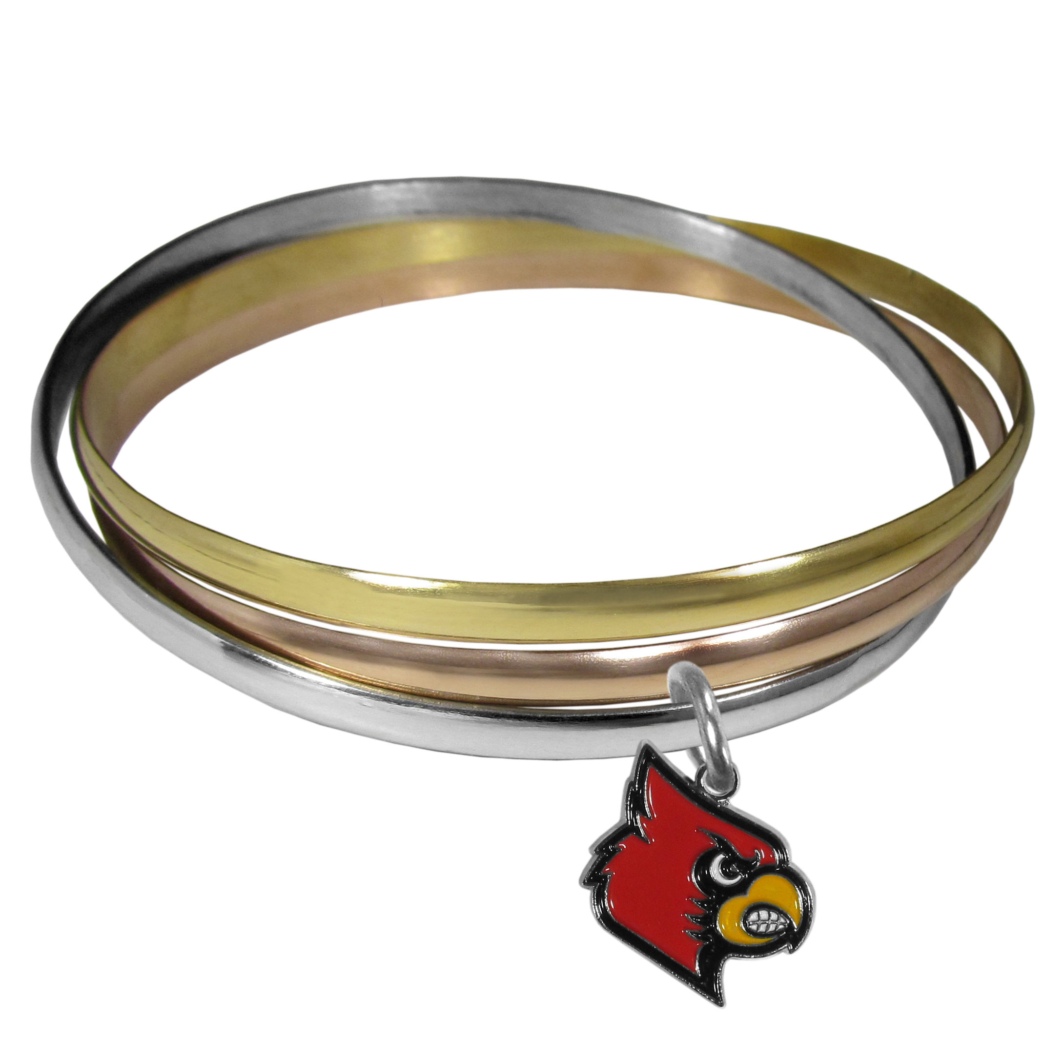Louisville Cardinals Tri-color Bangle Bracelet - These beautiful bangles come in a interlocking style and feature a fully cast Louisville Cardinals charm with enameled team colors. The bracelet has a silver toned bangle, gold tone bangle and brass toned bangle.