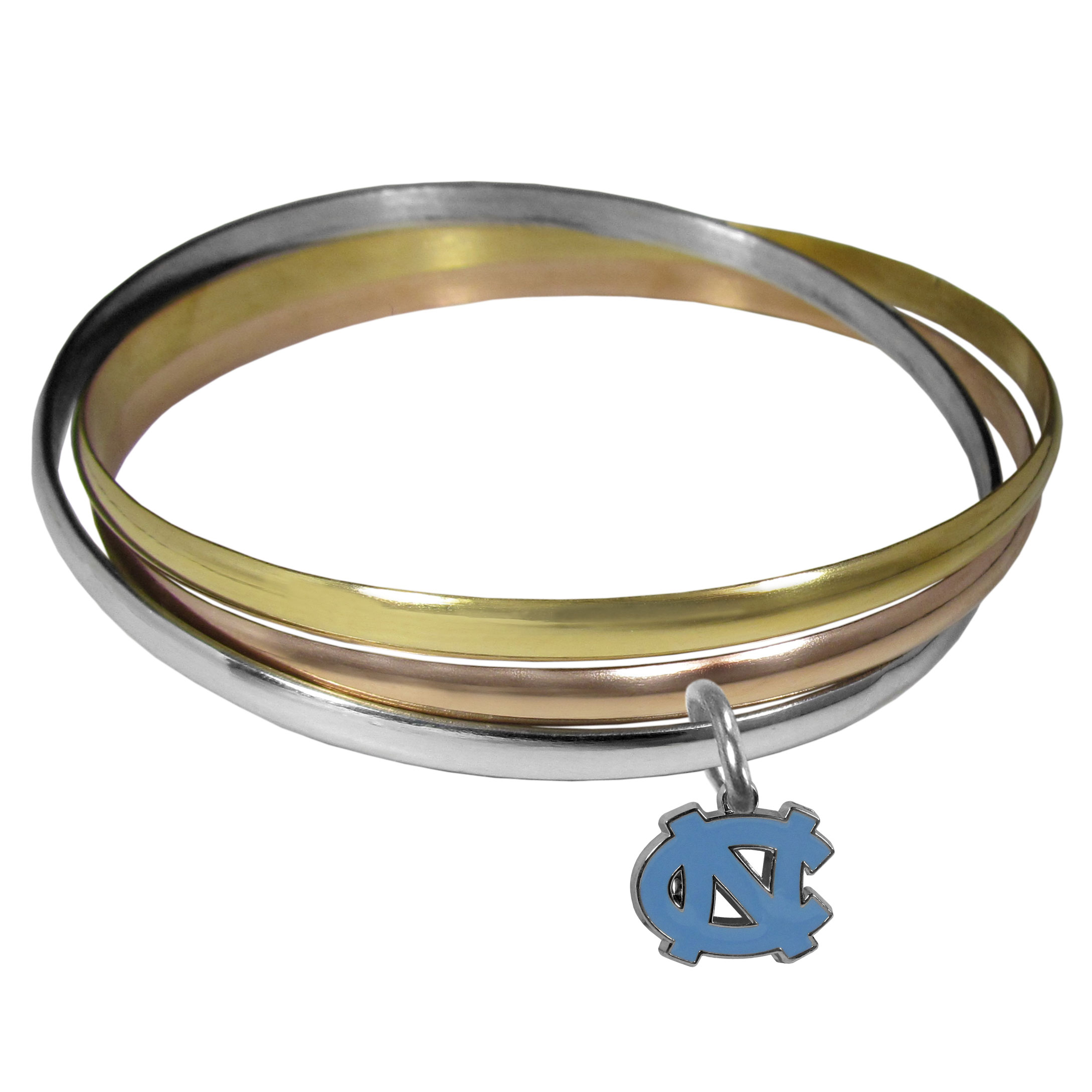 N. Carolina Tar Heels Tri-color Bangle Bracelet - These beautiful bangles come in a interlocking style and feature a fully cast N. Carolina Tar Heels charm with enameled team colors. The bracelet has a silver toned bangle, gold tone bangle and brass toned bangle.