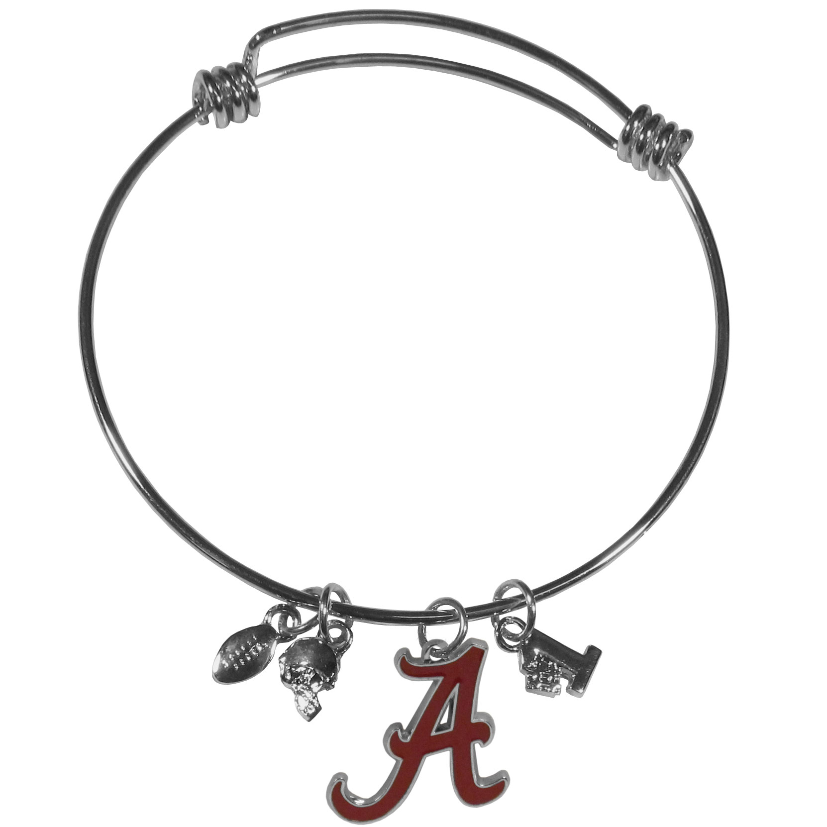 Alabama Crimson Tide Charm Bangle Bracelet - Adjustable wire bracelets are all the rage and this Alabama Crimson Tide bracelet matches the popular trend with your beloved team. The bracelet features 4 charms in total, each feature exceptional detail and the team charm has enameled team colors.