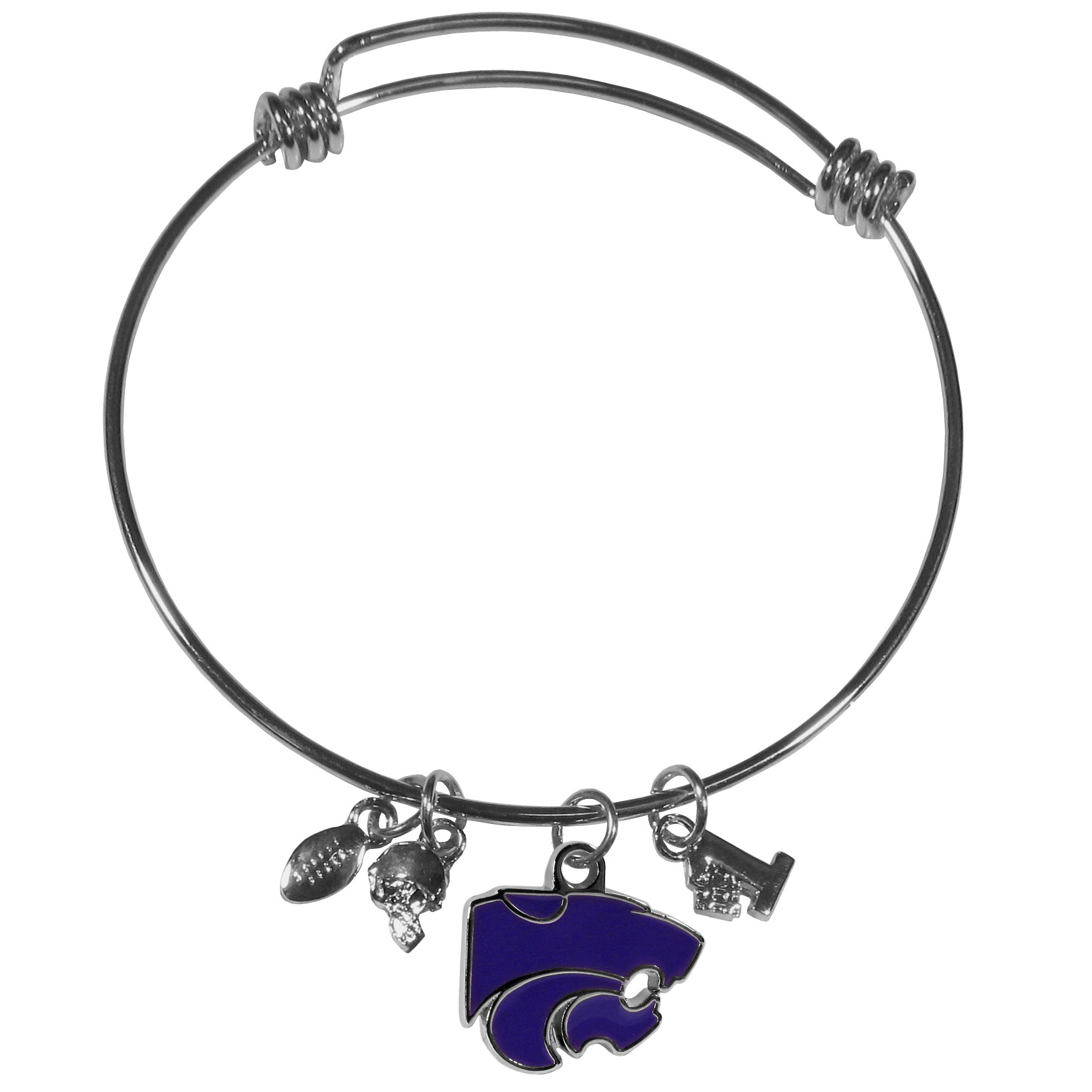 Kansas St. Wildcats Charm Bangle Bracelet - Adjustable wire bracelets are all the rage and this Kansas St. Wildcats bracelet matches the popular trend with your beloved team. The bracelet features 4 charms in total, each feature exceptional detail and the team charm has enameled team colors.