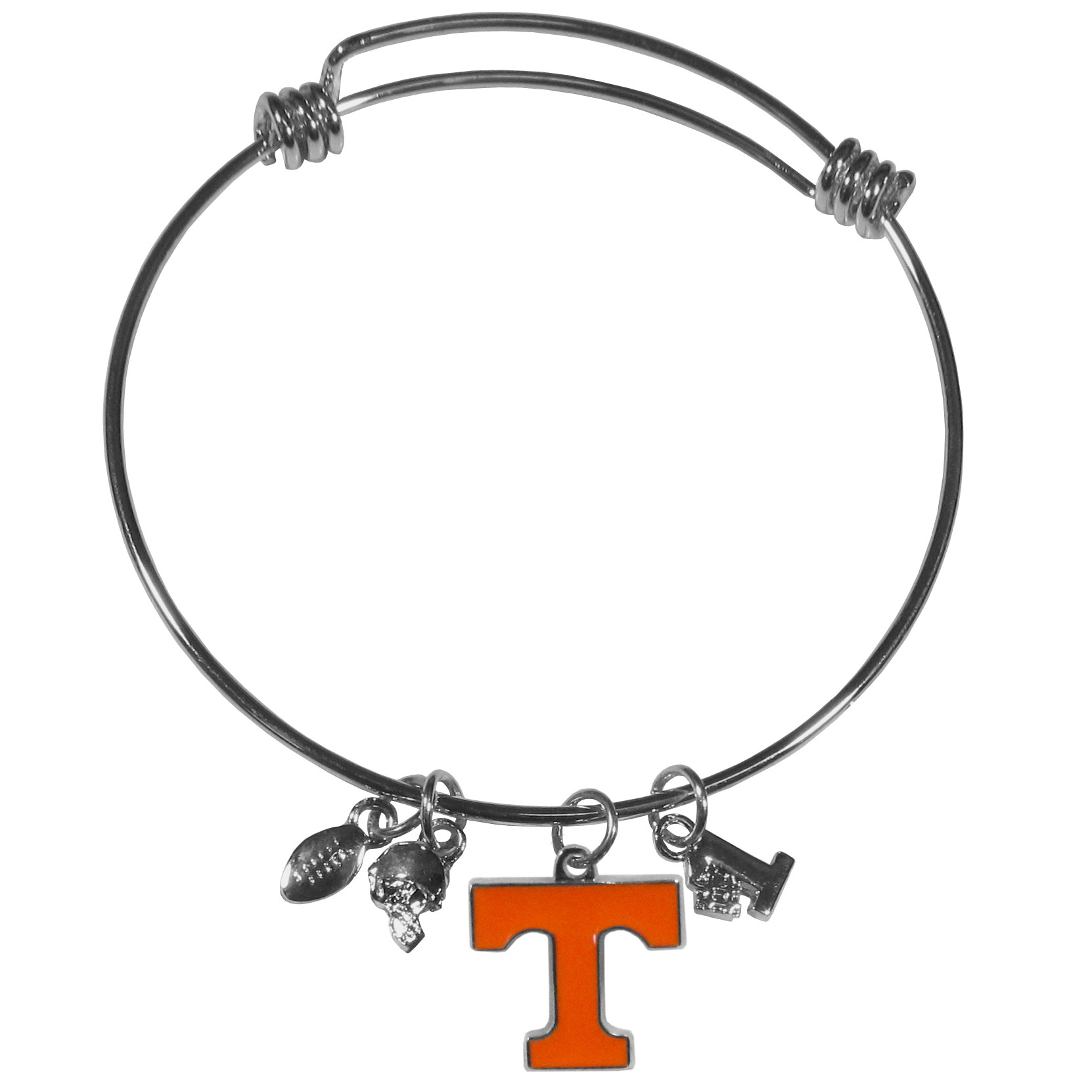 Tennessee Volunteers Charm Bangle Bracelet - Adjustable wire bracelets are all the rage and this Tennessee Volunteers bracelet matches the popular trend with your beloved team. The bracelet features 4 charms in total, each feature exceptional detail and the team charm has enameled team colors.