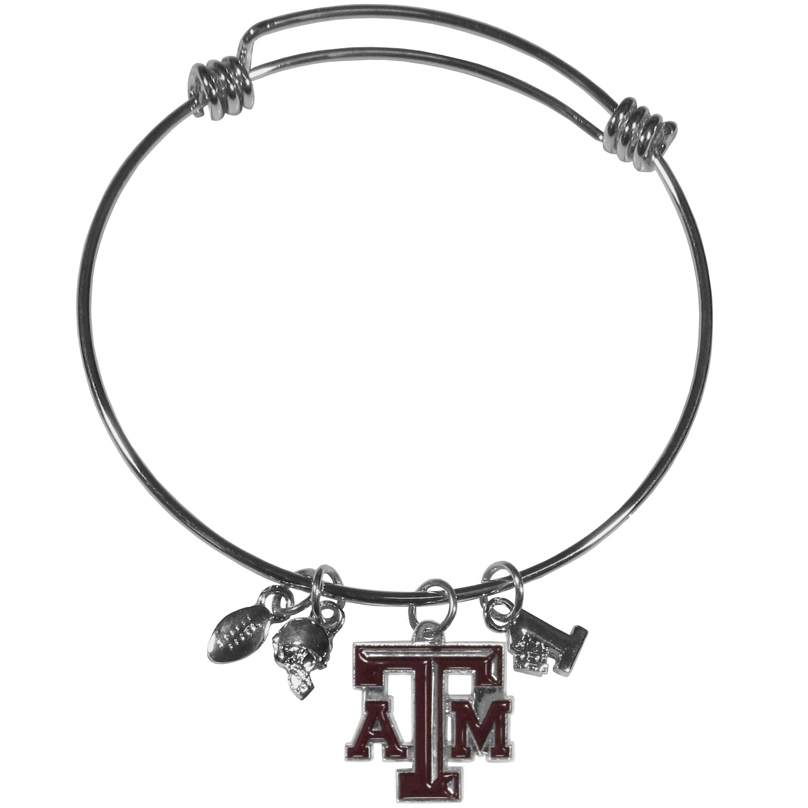 Texas A and M Aggies Charm Bangle Bracelet - Adjustable wire bracelets are all the rage and this Texas A & M Aggies bracelet matches the popular trend with your beloved team. The bracelet features 4 charms in total, each feature exceptional detail and the team charm has enameled team colors.