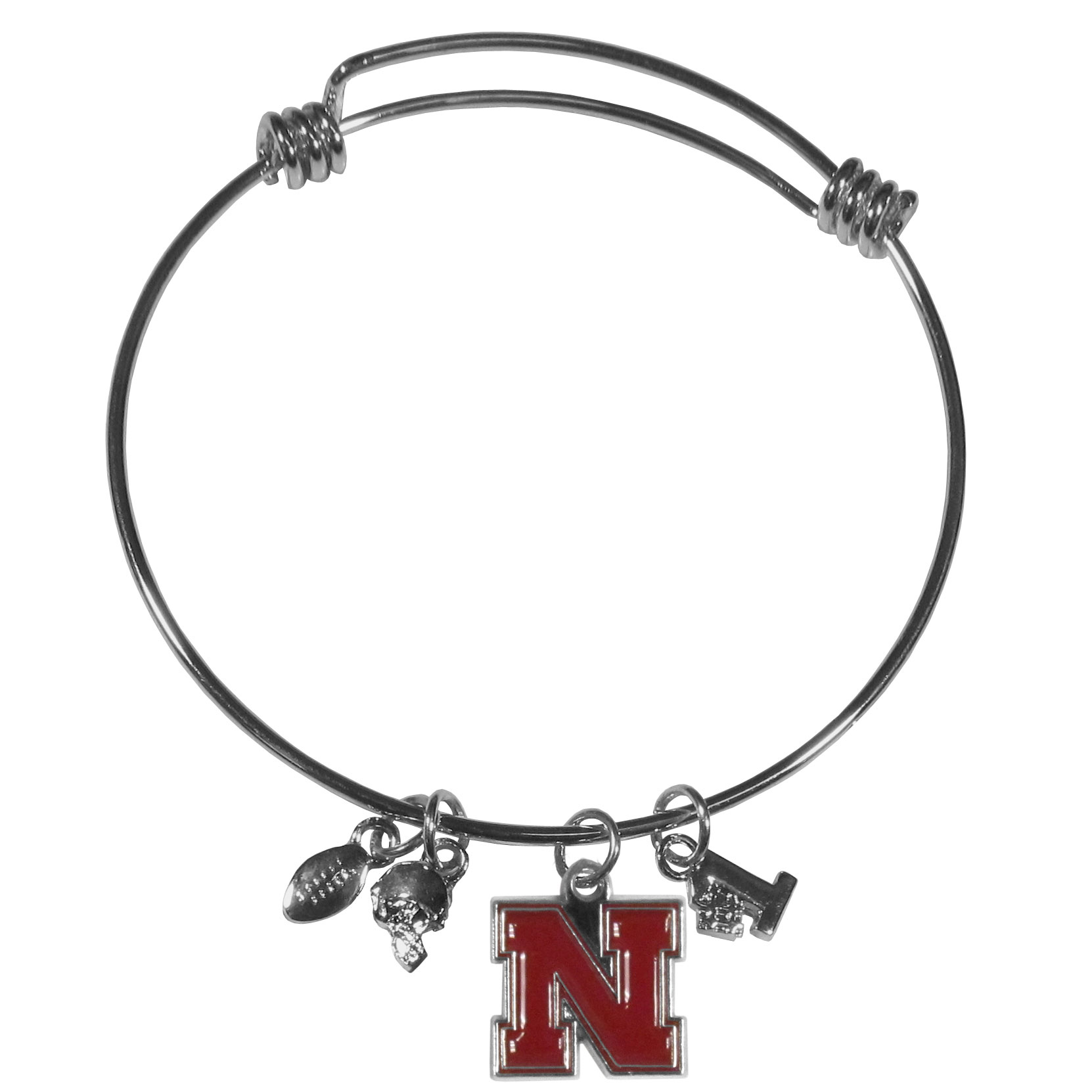 Nebraska Cornhuskers Charm Bangle Bracelet - Adjustable wire bracelets are all the rage and this Nebraska Cornhuskers bracelet matches the popular trend with your beloved team. The bracelet features 4 charms in total, each feature exceptional detail and the team charm has enameled team colors.