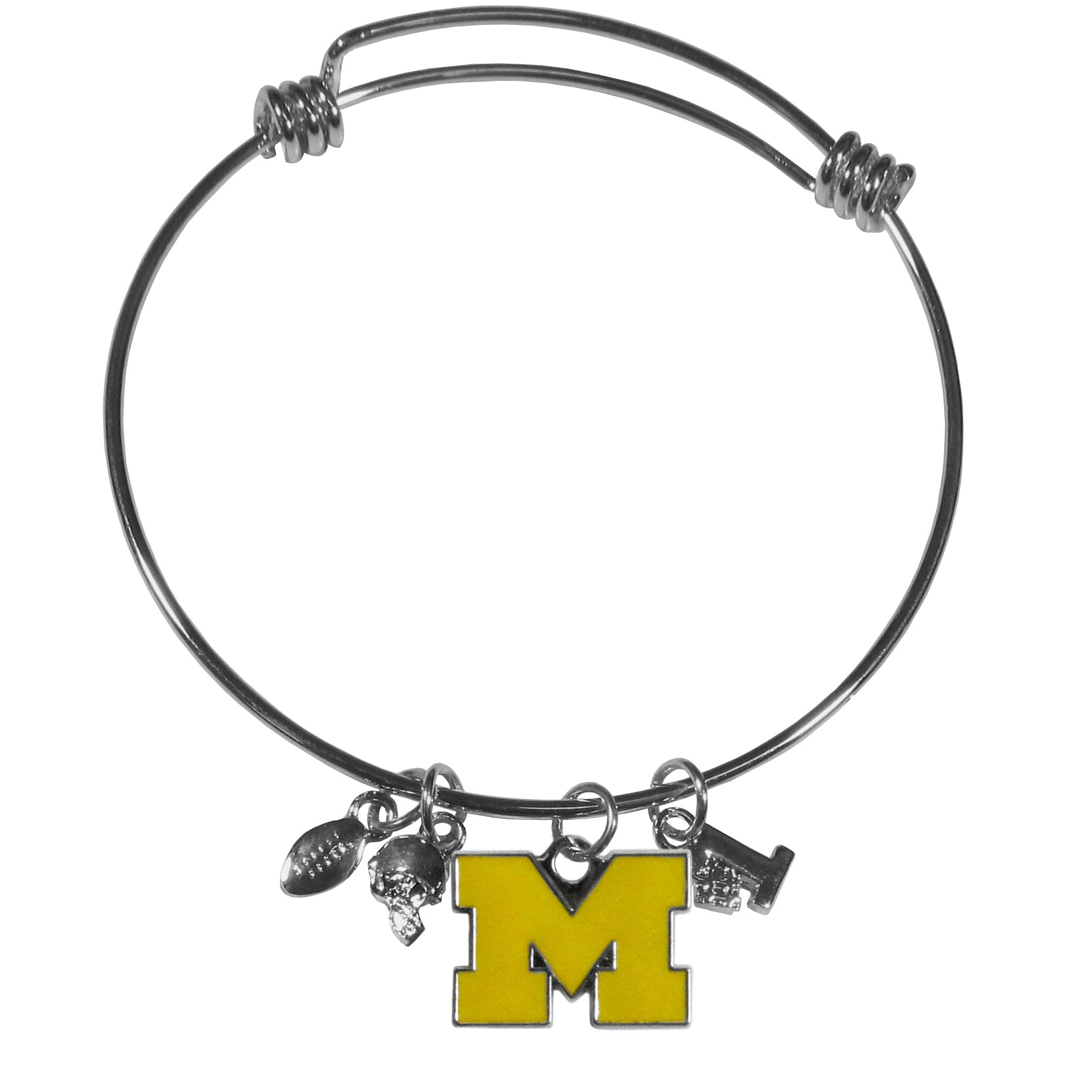 Michigan Wolverines Charm Bangle Bracelet - Adjustable wire bracelets are all the rage and this Michigan Wolverines bracelet matches the popular trend with your beloved team. The bracelet features 4 charms in total, each feature exceptional detail and the team charm has enameled team colors.