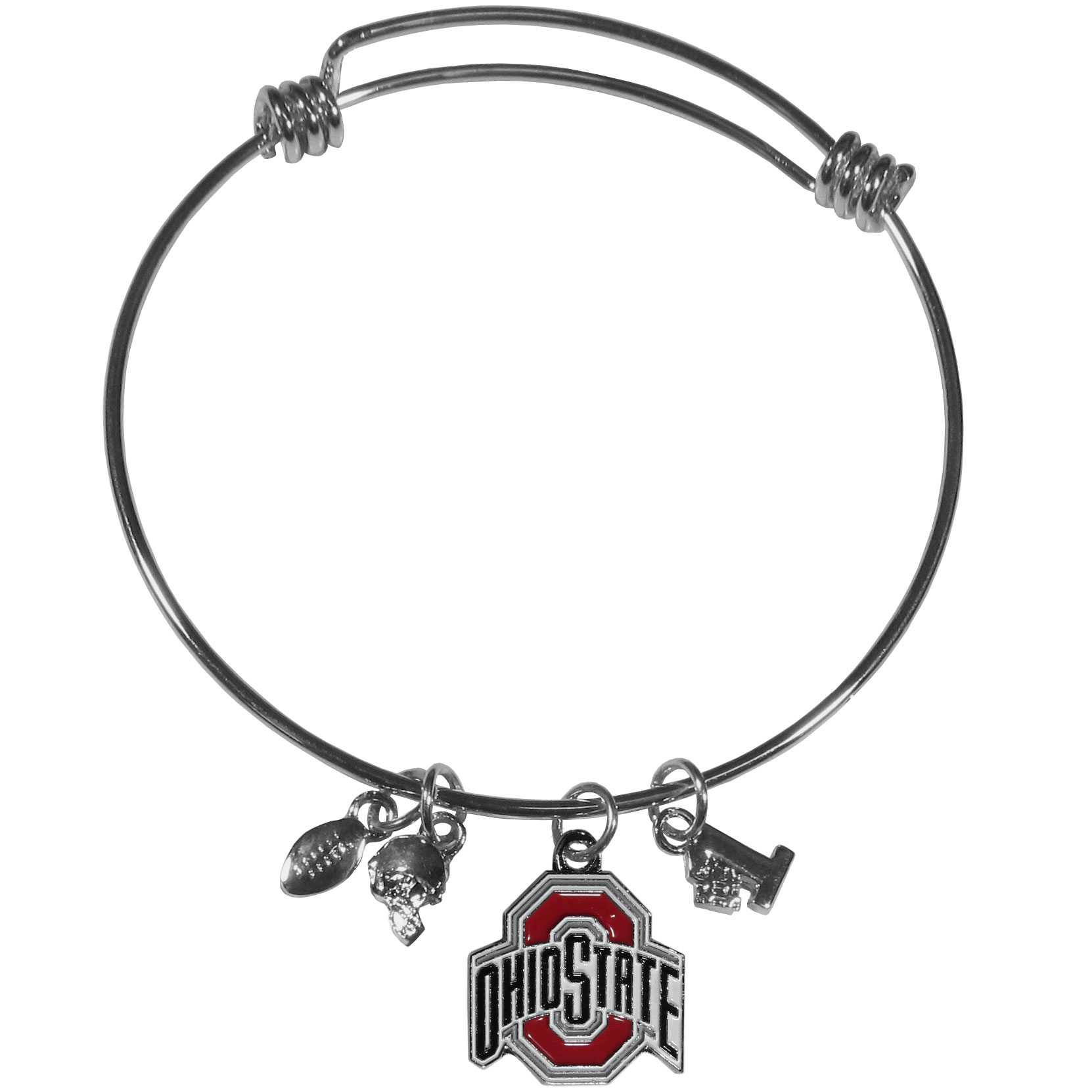 Ohio St. Buckeyes Charm Bangle Bracelet - Adjustable wire bracelets are all the rage and this Ohio St. Buckeyes bracelet matches the popular trend with your beloved team. The bracelet features 4 charms in total, each feature exceptional detail and the team charm has enameled team colors.