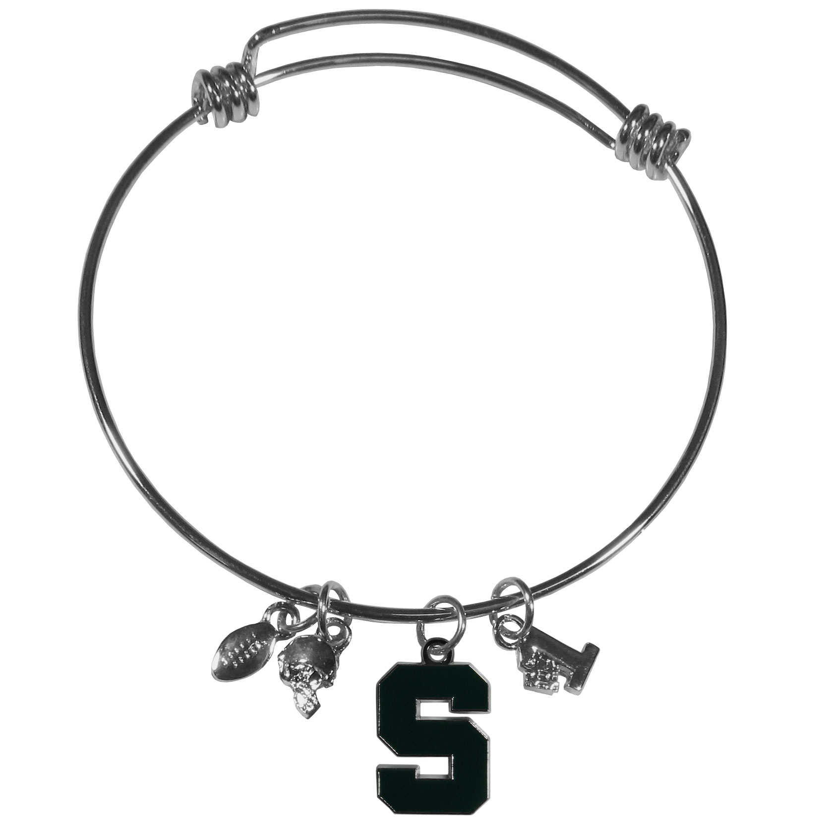 Michigan St. Spartans Charm Bangle Bracelet - Adjustable wire bracelets are all the rage and this Michigan St. Spartans bracelet matches the popular trend with your beloved team. The bracelet features 4 charms in total, each feature exceptional detail and the team charm has enameled team colors.