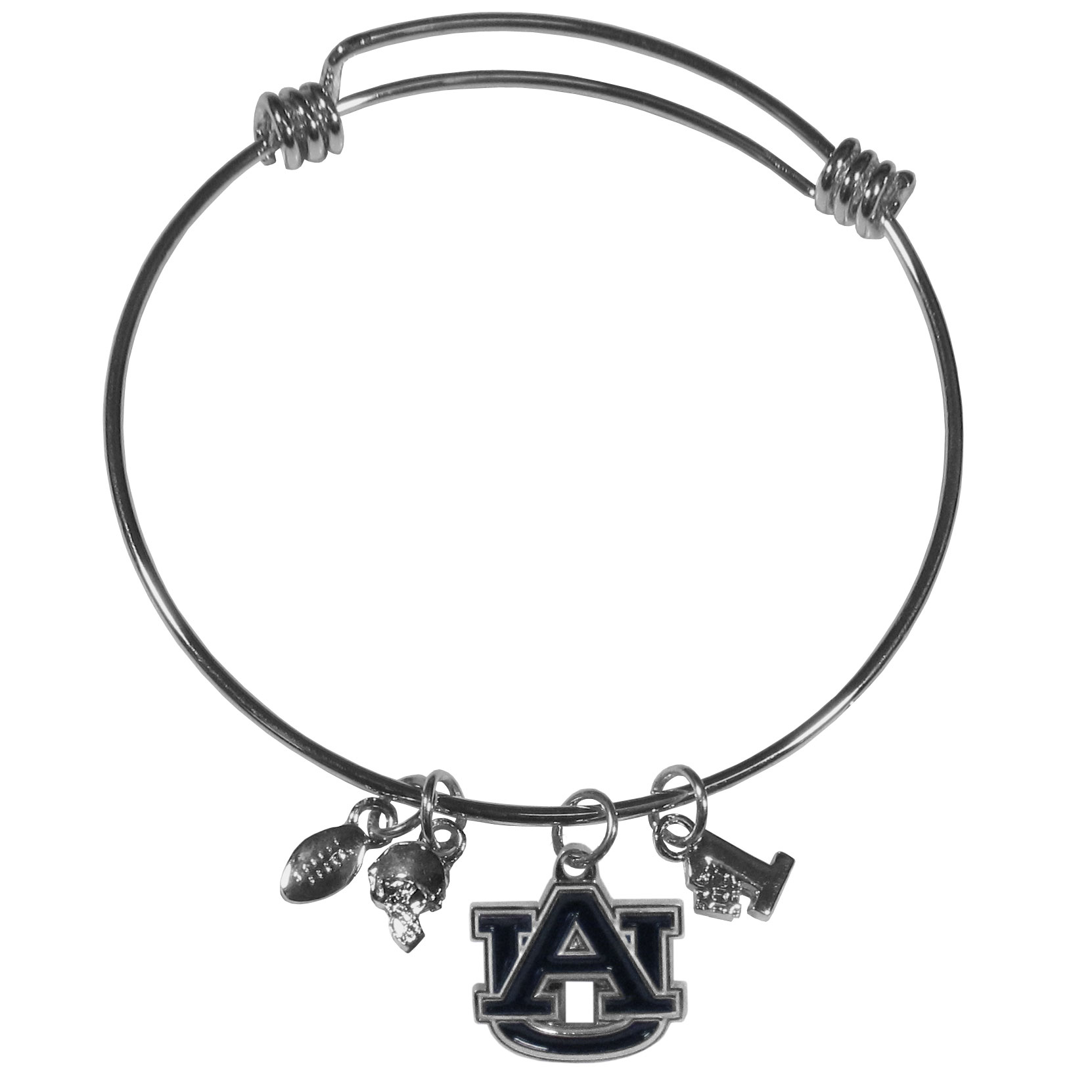 Auburn Tigers Charm Bangle Bracelet - Adjustable wire bracelets are all the rage and this Auburn Tigers bracelet matches the popular trend with your beloved team. The bracelet features 4 charms in total, each feature exceptional detail and the team charm has enameled team colors.