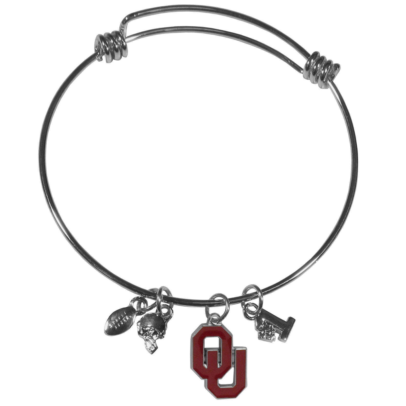 Oklahoma Sooners Charm Bangle Bracelet - Adjustable wire bracelets are all the rage and this Oklahoma Sooners bracelet matches the popular trend with your beloved team. The bracelet features 4 charms in total, each feature exceptional detail and the team charm has enameled team colors.