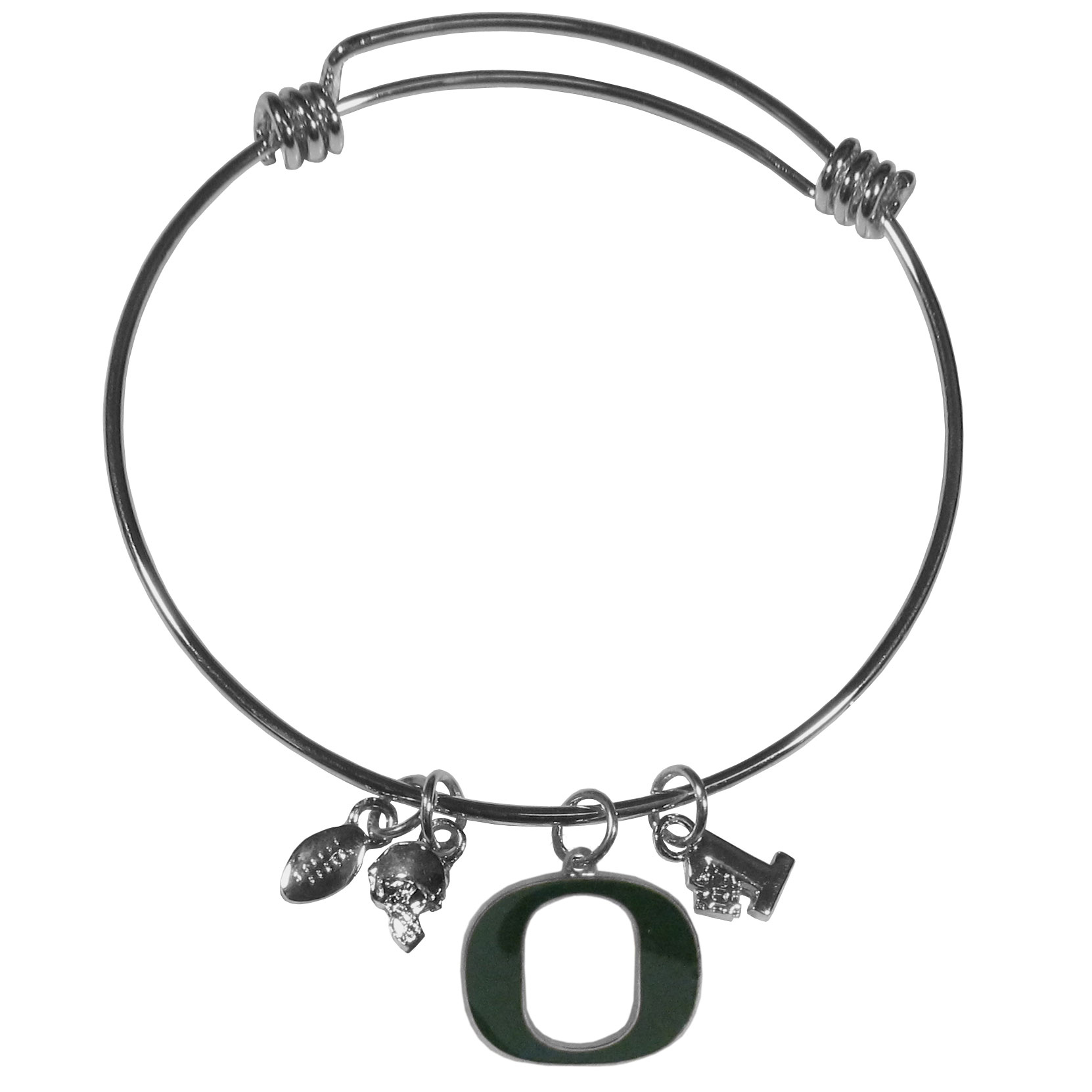Oregon Ducks Charm Bangle Bracelet - Adjustable wire bracelets are all the rage and this Oregon Ducks bracelet matches the popular trend with your beloved team. The bracelet features 4 charms in total, each feature exceptional detail and the team charm has enameled team colors.