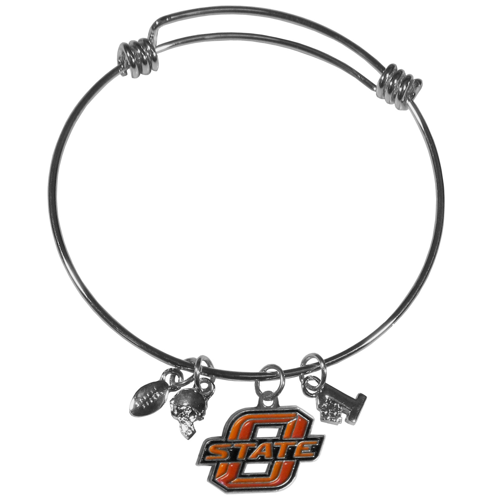 Oklahoma St. Cowboys Charm Bangle Bracelet - Adjustable wire bracelets are all the rage and this Oklahoma St. Cowboys bracelet matches the popular trend with your beloved team. The bracelet features 4 charms in total, each feature exceptional detail and the team charm has enameled team colors.