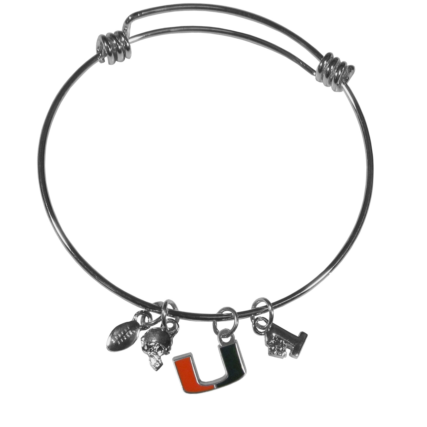 Miami Hurricanes Charm Bangle Bracelet - Adjustable wire bracelets are all the rage and this Miami Hurricanes bracelet matches the popular trend with your beloved team. The bracelet features 4 charms in total, each feature exceptional detail and the team charm has enameled team colors.