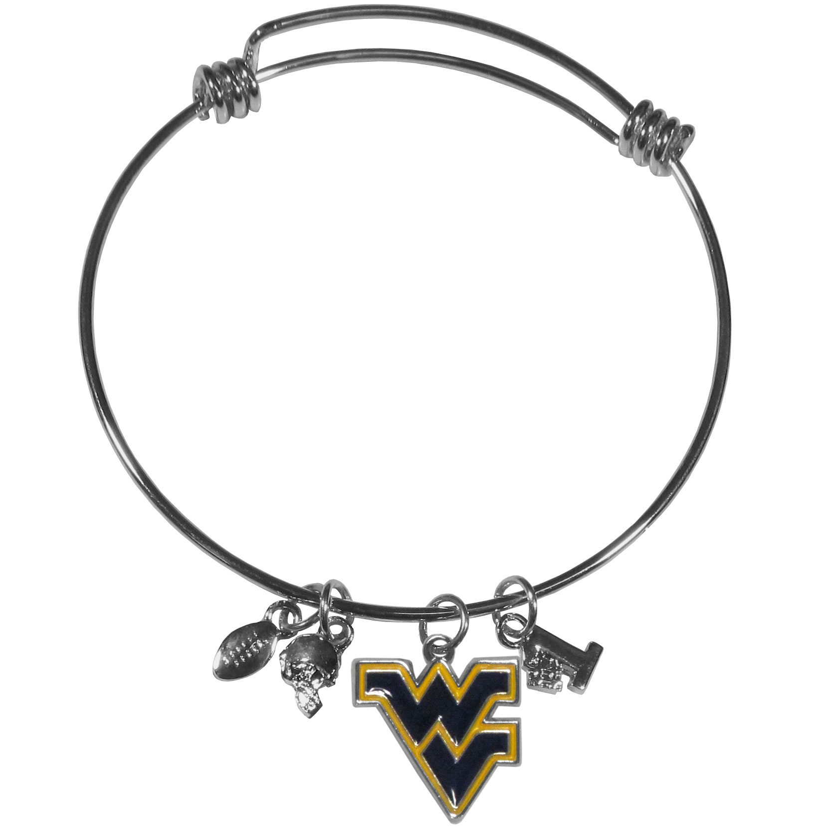 W. Virginia Mountaineers Charm Bangle Bracelet - Adjustable wire bracelets are all the rage and this W. Virginia Mountaineers bracelet matches the popular trend with your beloved team. The bracelet features 4 charms in total, each feature exceptional detail and the team charm has enameled team colors.