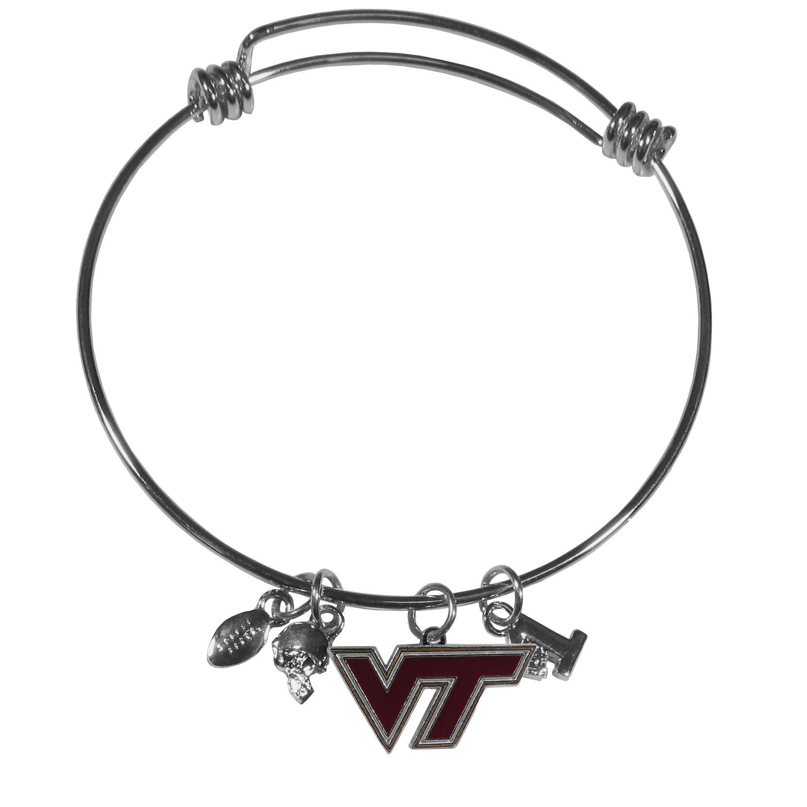 Virginia Tech Hokies Charm Bangle Bracelet - Adjustable wire bracelets are all the rage and this Virginia Tech Hokies bracelet matches the popular trend with your beloved team. The bracelet features 4 charms in total, each feature exceptional detail and the team charm has enameled team colors.