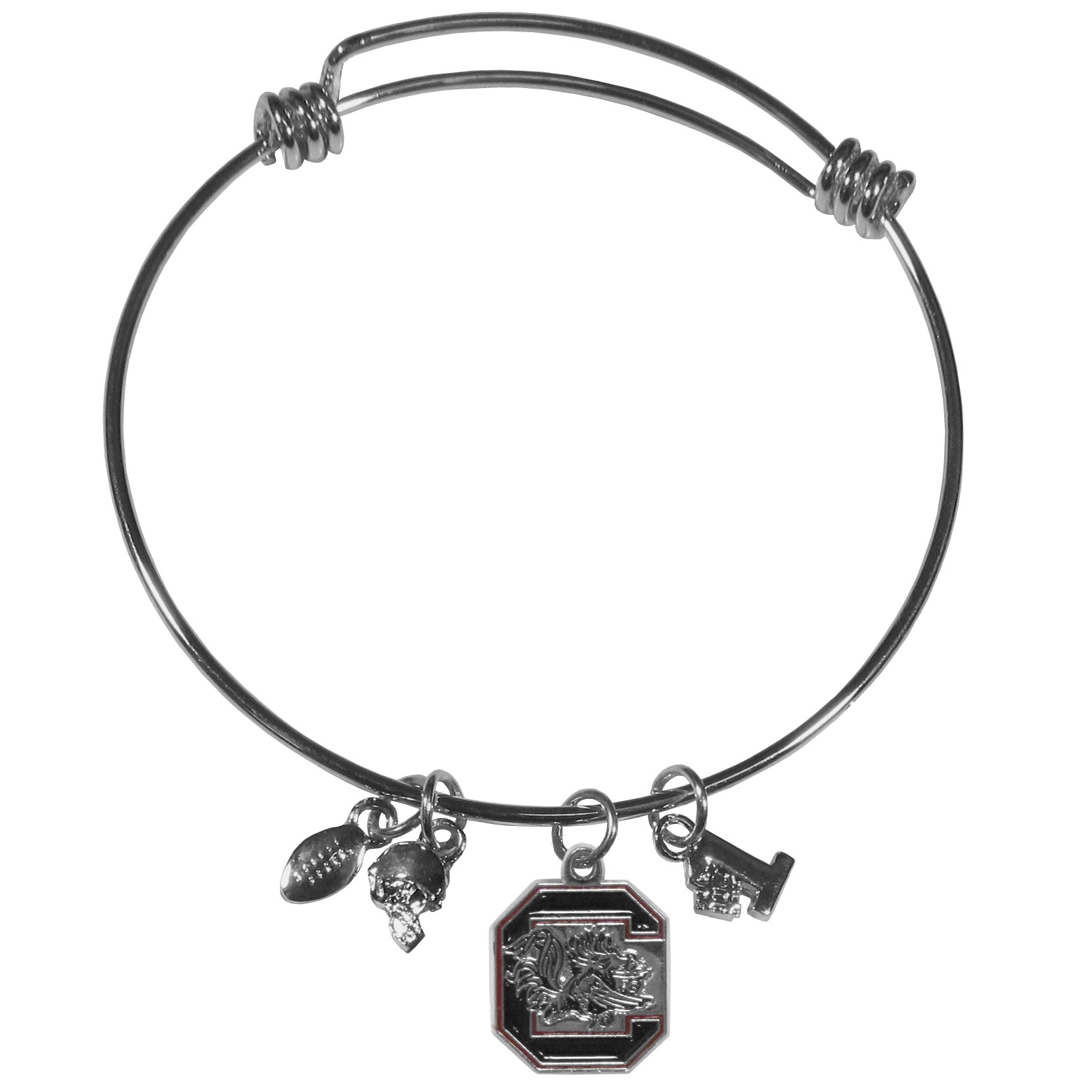 S. Carolina Gamecocks Charm Bangle Bracelet - Adjustable wire bracelets are all the rage and this S. Carolina Gamecocks bracelet matches the popular trend with your beloved team. The bracelet features 4 charms in total, each feature exceptional detail and the team charm has enameled team colors.