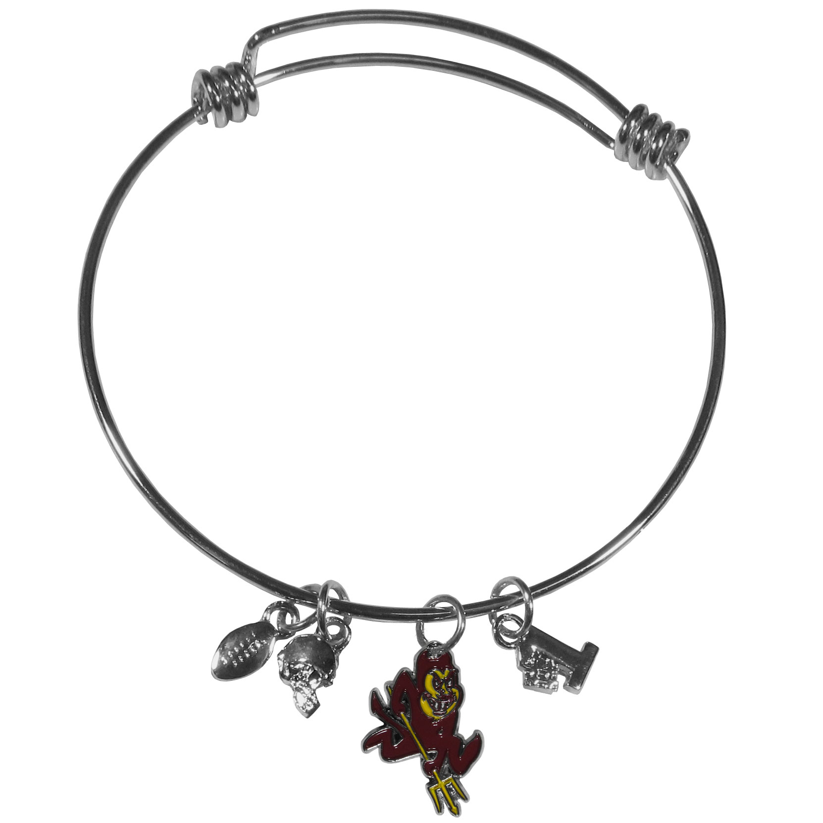 Arizona St. Sun Devils Charm Bangle Bracelet - Adjustable wire bracelets are all the rage and this Arizona St. Sun Devils bracelet matches the popular trend with your beloved team. The bracelet features 4 charms in total, each feature exceptional detail and the team charm has enameled team colors.
