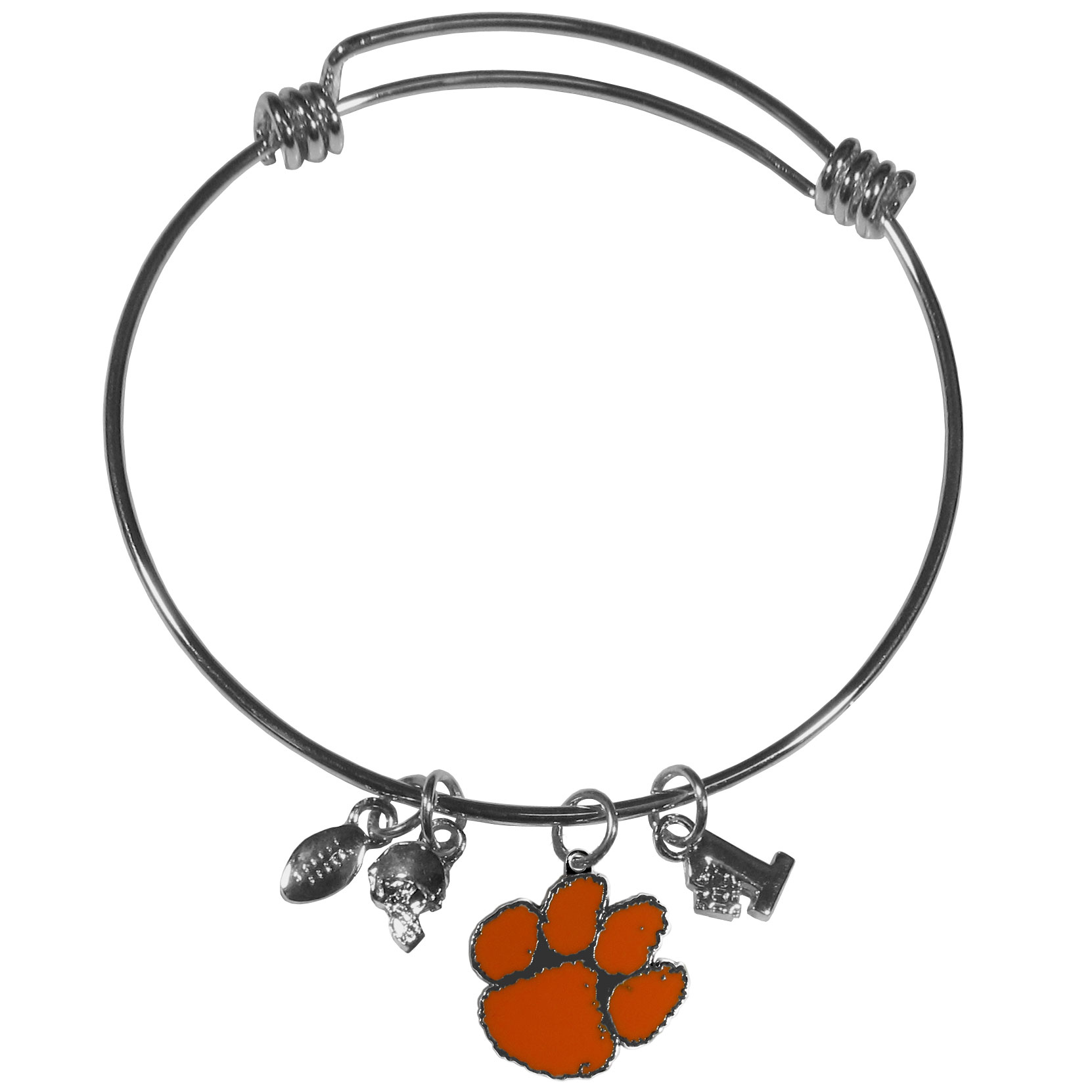 Clemson Tigers Charm Bangle Bracelet - Adjustable wire bracelets are all the rage and this Clemson Tigers bracelet matches the popular trend with your beloved team. The bracelet features 4 charms in total, each feature exceptional detail and the team charm has enameled team colors.