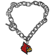 Louisville Cardinals Charm Chain Bracelet - Our classic single Louisville Cardinals charm bracelet is a great way to show off your team pride! The Louisville Cardinals Charm Chain Bracelet has a 7.5 inch large link chain features a high polish Louisville Cardinals charm and features a toggle clasp which makes it super easy to take on and off.  Thank you for shopping with CrazedOutSports.com