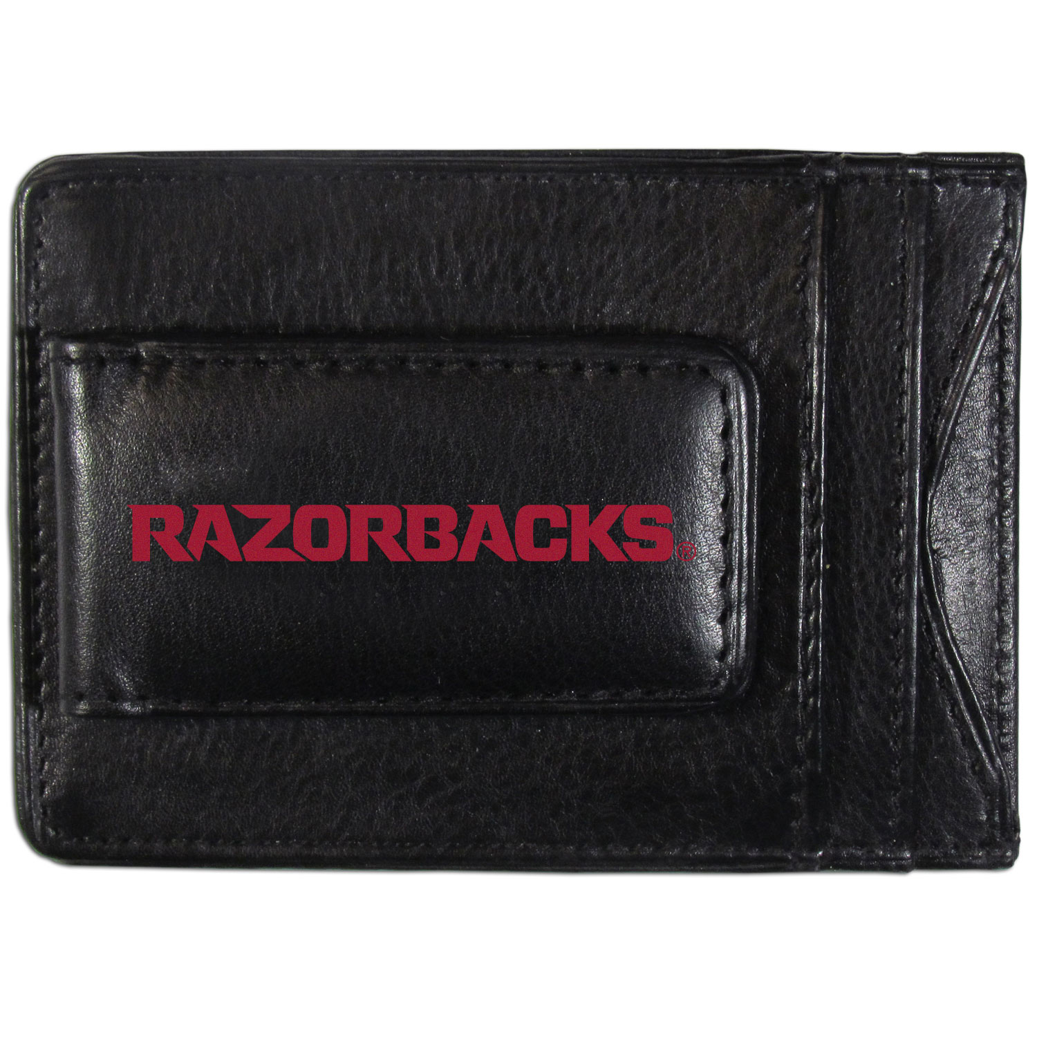 Arkansas Razorbacks Logo Leather Cash and Cardholder - This super slim leather wallet lets you have all the benefits of a money clip while keeping the organization of a wallet. On one side of this front pocket wallet there is a strong, magnetic money clip to keep your cash easily accessible and the?Arkansas Razorbacks team logo on the front. The versatile men's accessory is a perfect addition to your fan apparel.