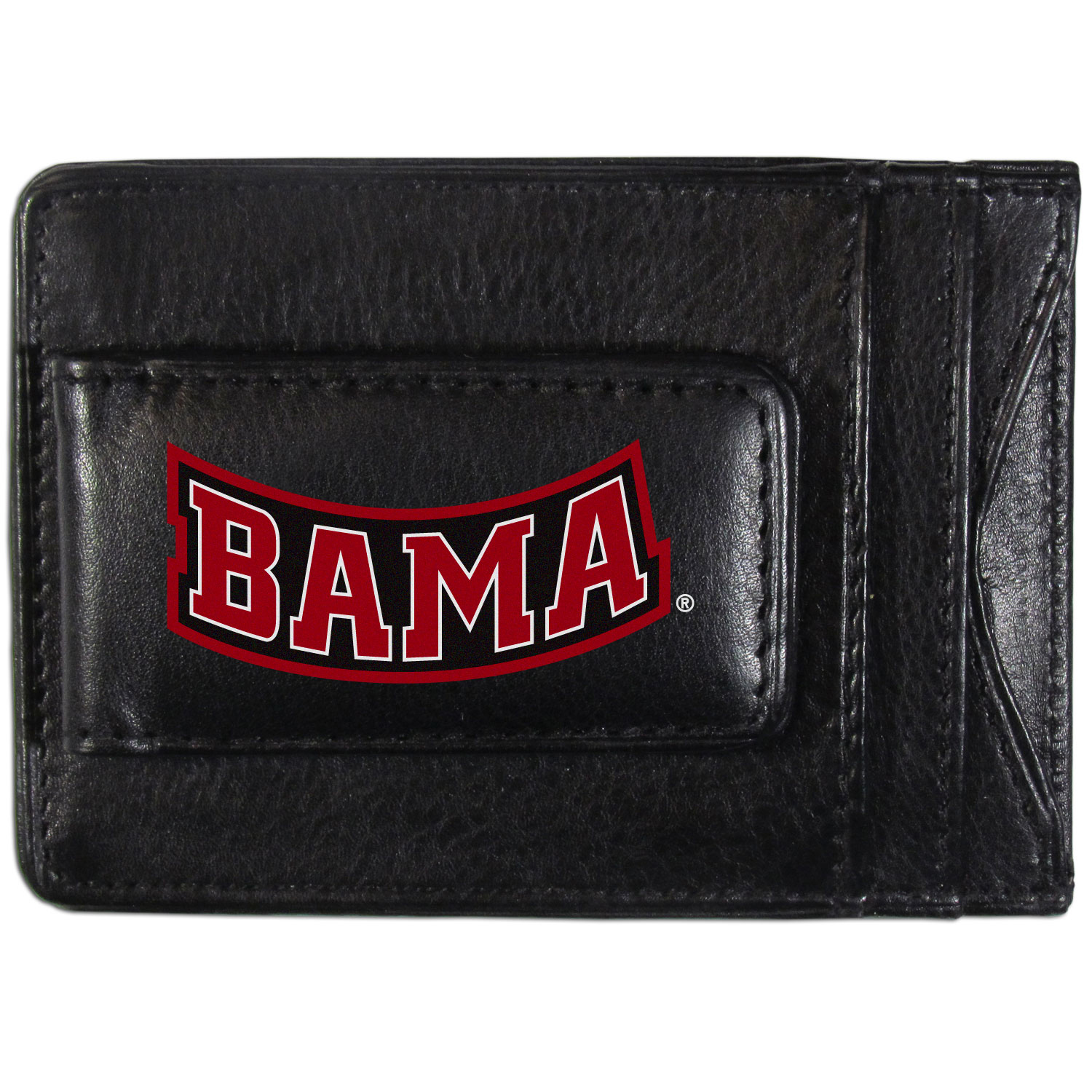 Alabama Crimson Tide Logo Leather Cash and Cardholder - This super slim leather wallet lets you have all the benefits of a money clip while keeping the organization of a wallet. On one side of this front pocket wallet there is a strong, magnetic money clip to keep your cash easily accessible and the?Alabama Crimson Tide team logo on the front. The versatile men's accessory is a perfect addition to your fan apparel.