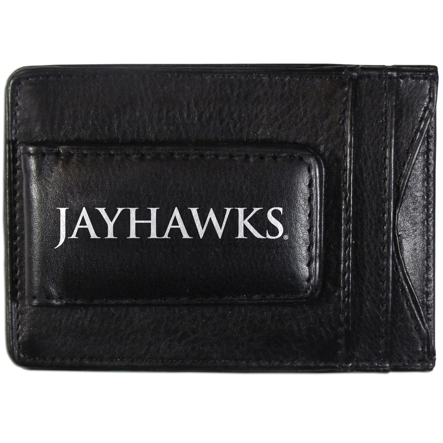 Kansas Jayhawks Logo Leather Cash and Cardholder - This super slim leather wallet lets you have all the benefits of a money clip while keeping the organization of a wallet. On one side of this front pocket wallet there is a strong, magnetic money clip to keep your cash easily accessible and the?Kansas Jayhawks team logo on the front. The versatile men's accessory is a perfect addition to your fan apparel.