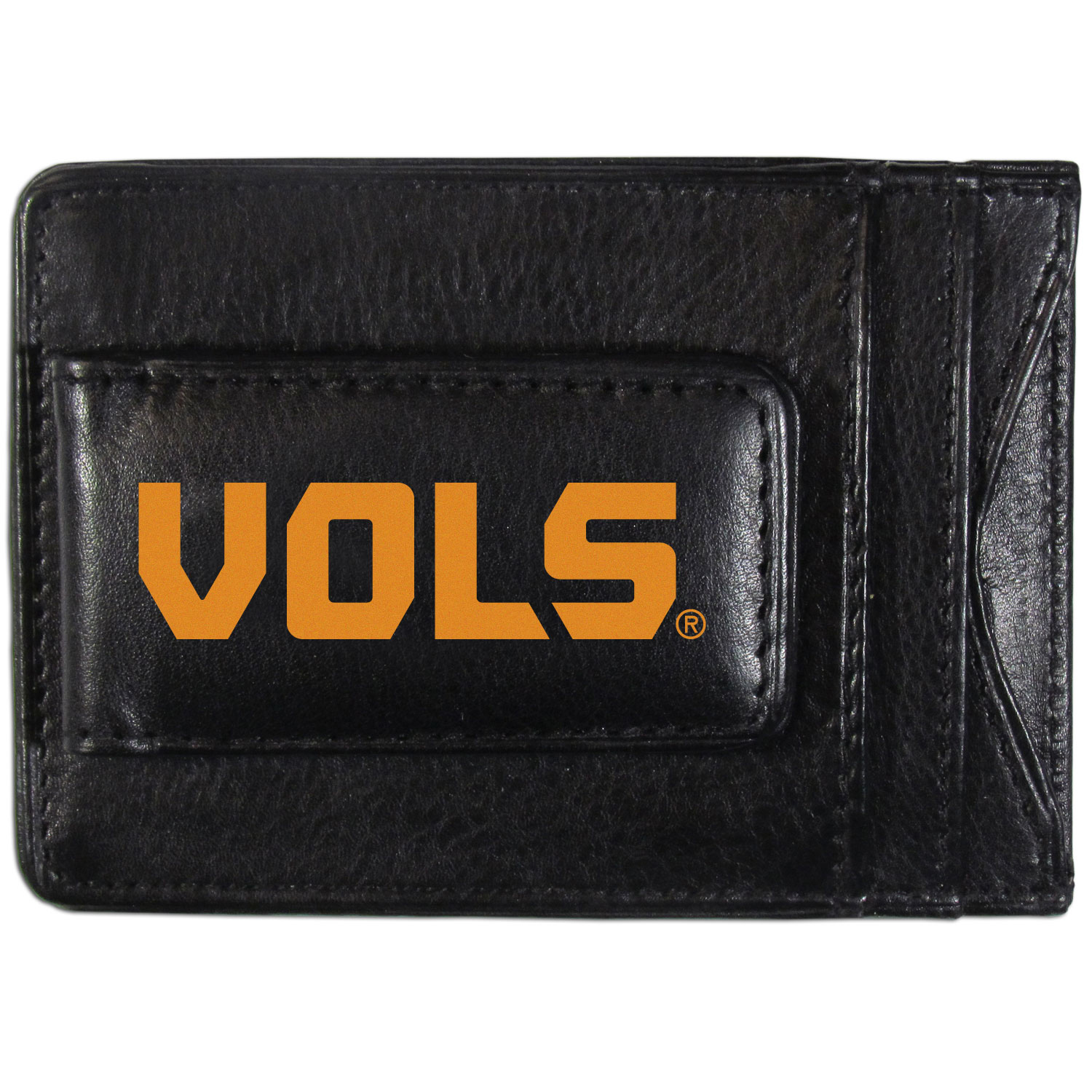 Tennessee Volunteers Logo Leather Cash and Cardholder - This super slim leather wallet lets you have all the benefits of a money clip while keeping the organization of a wallet. On one side of this front pocket wallet there is a strong, magnetic money clip to keep your cash easily accessible and the?Tennessee Volunteers team logo on the front. The versatile men's accessory is a perfect addition to your fan apparel.