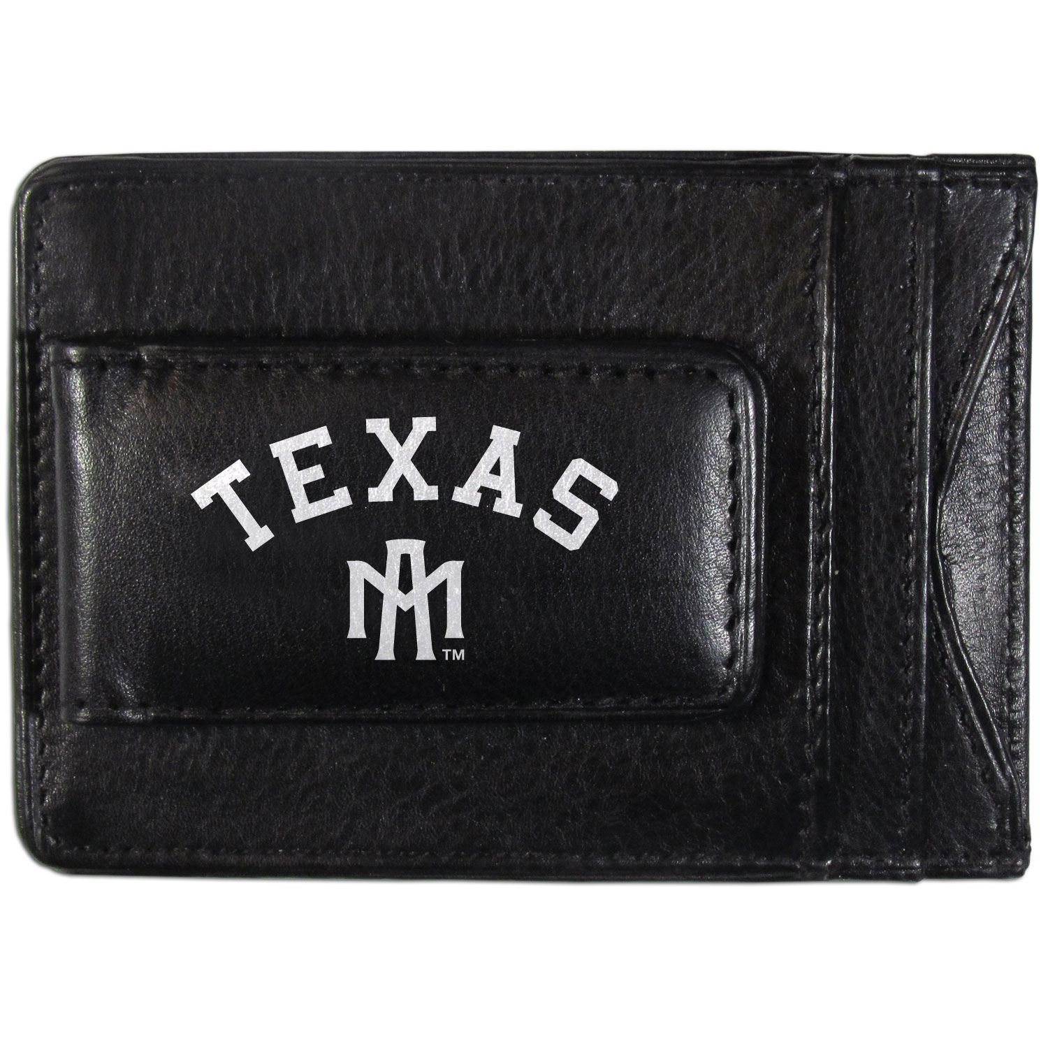Texas A and M Aggies Logo Leather Cash and Cardholder - This super slim leather wallet lets you have all the benefits of a money clip while keeping the organization of a wallet. On one side of this front pocket wallet there is a strong, magnetic money clip to keep your cash easily accessible and the?Texas A & M Aggies team logo on the front. The versatile men's accessory is a perfect addition to your fan apparel.