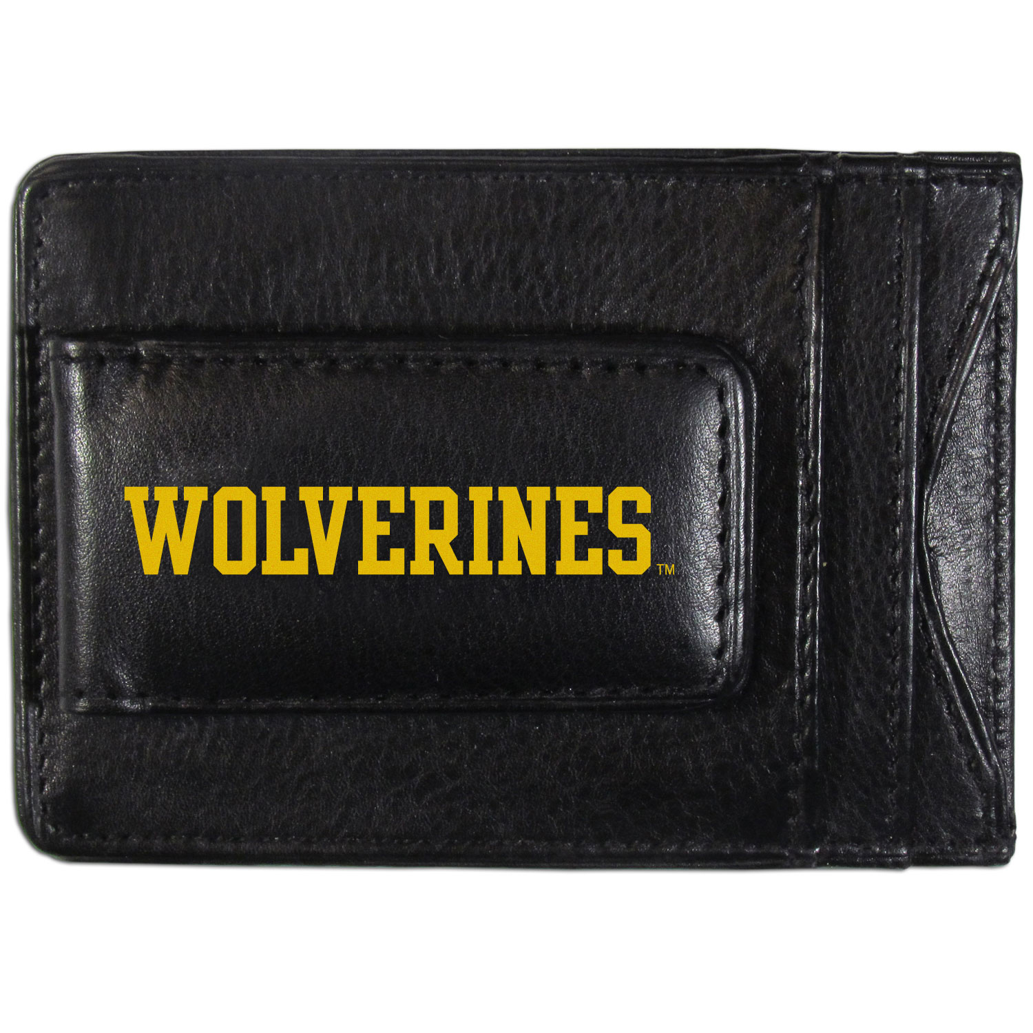 Michigan Wolverines Logo Leather Cash and Cardholder - This super slim leather wallet lets you have all the benefits of a money clip while keeping the organization of a wallet. On one side of this front pocket wallet there is a strong, magnetic money clip to keep your cash easily accessible and the?Michigan Wolverines team logo on the front. The versatile men's accessory is a perfect addition to your fan apparel.