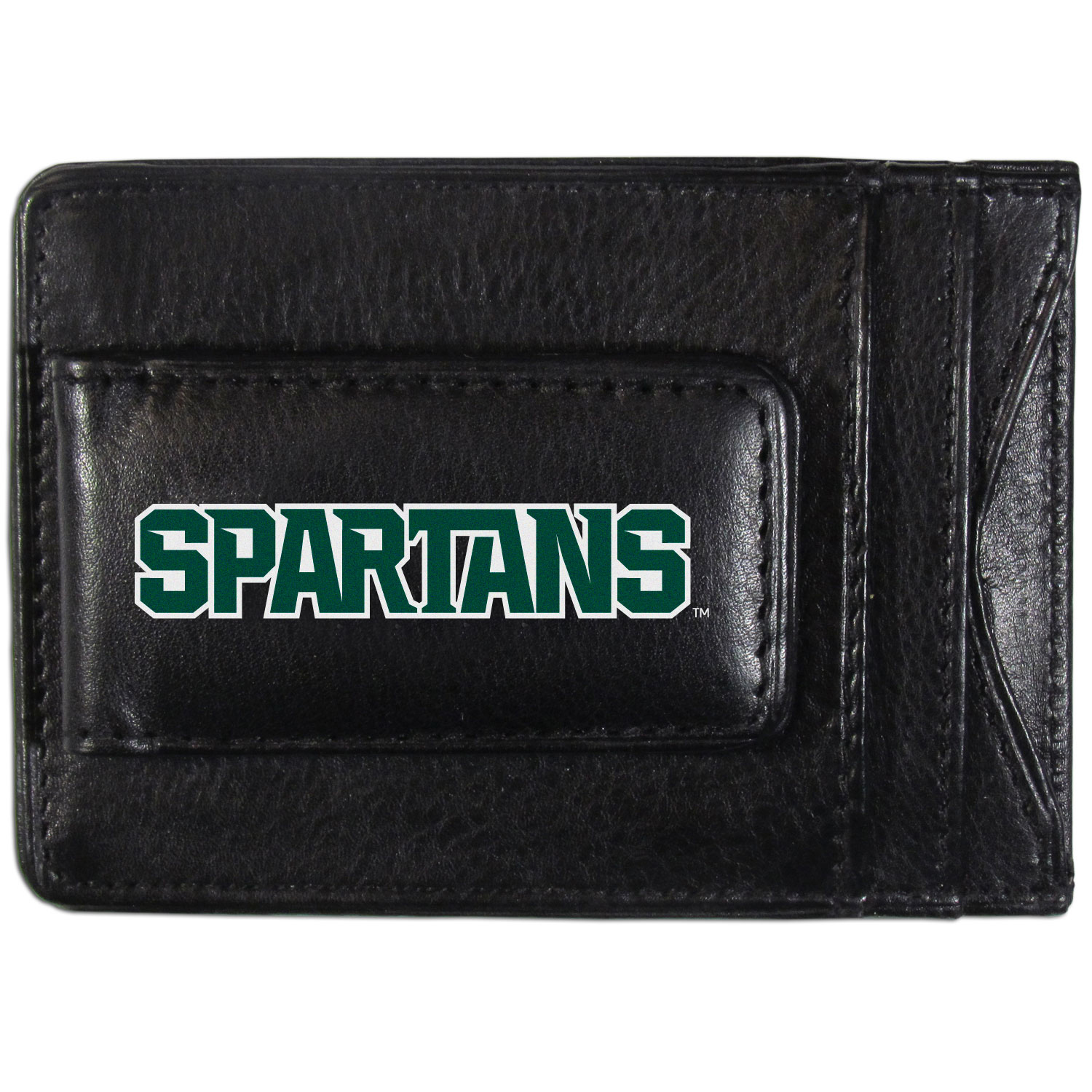 Michigan St. Spartans Logo Leather Cash and Cardholder - This super slim leather wallet lets you have all the benefits of a money clip while keeping the organization of a wallet. On one side of this front pocket wallet there is a strong, magnetic money clip to keep your cash easily accessible and the?Michigan St. Spartans team logo on the front. The versatile men's accessory is a perfect addition to your fan apparel.