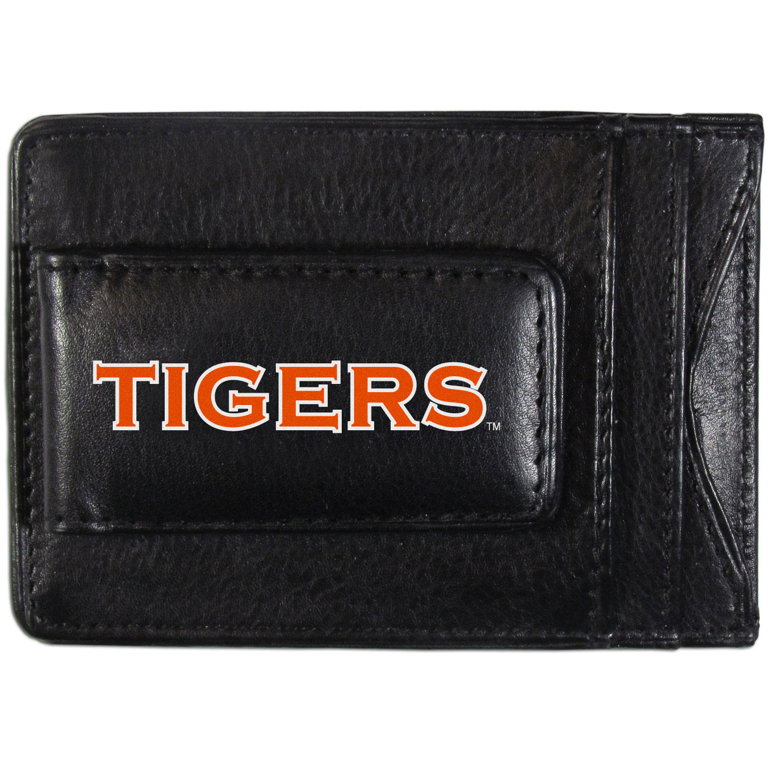 Auburn Tigers Logo Leather Cash and Cardholder - This super slim leather wallet lets you have all the benefits of a money clip while keeping the organization of a wallet. On one side of this front pocket wallet there is a strong, magnetic money clip to keep your cash easily accessible and the?Auburn Tigers team logo on the front. The versatile men's accessory is a perfect addition to your fan apparel.
