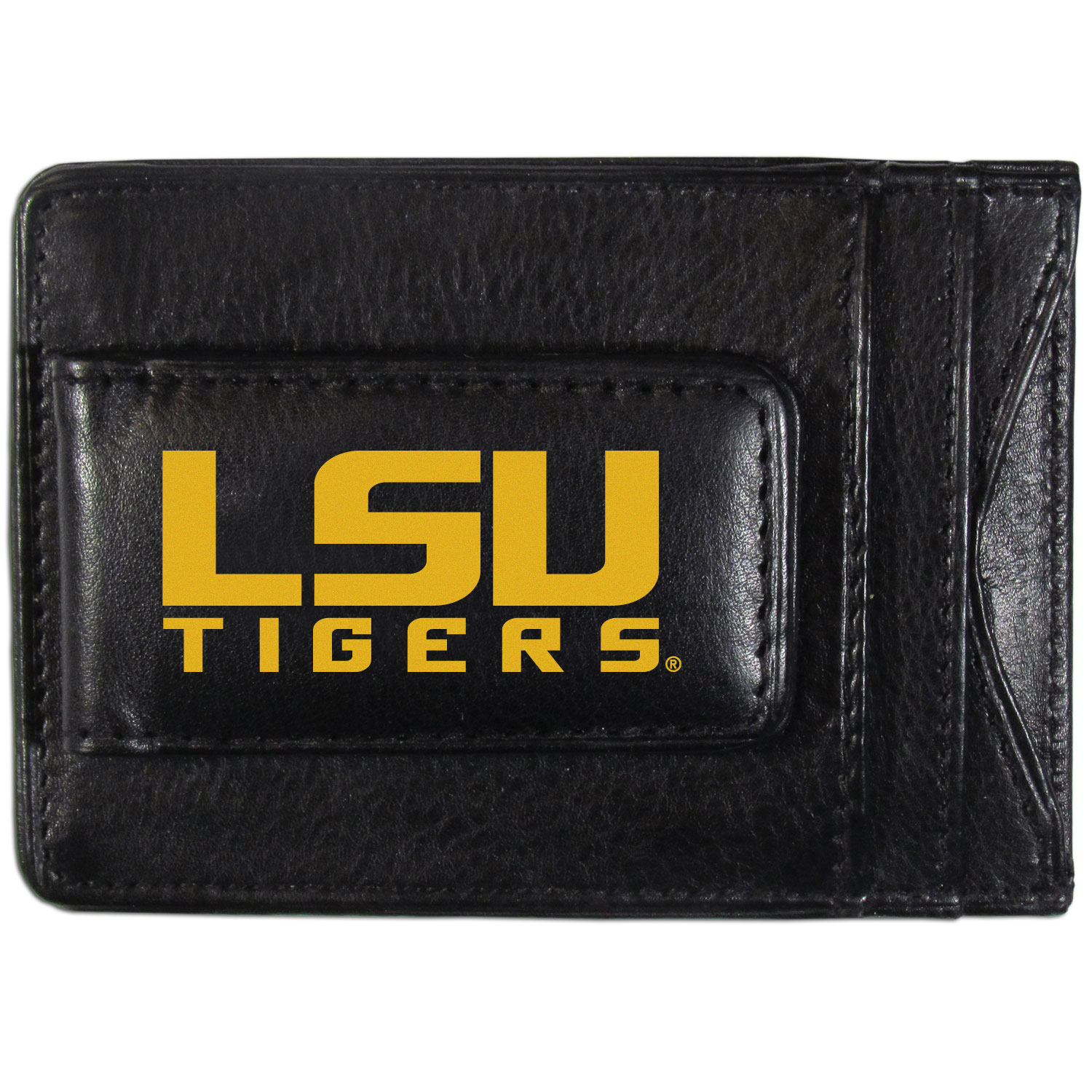 LSU Tigers Logo Leather Cash and Cardholder - This super slim leather wallet lets you have all the benefits of a money clip while keeping the organization of a wallet. On one side of this front pocket wallet there is a strong, magnetic money clip to keep your cash easily accessible and the?LSU Tigers team logo on the front. The versatile men's accessory is a perfect addition to your fan apparel.