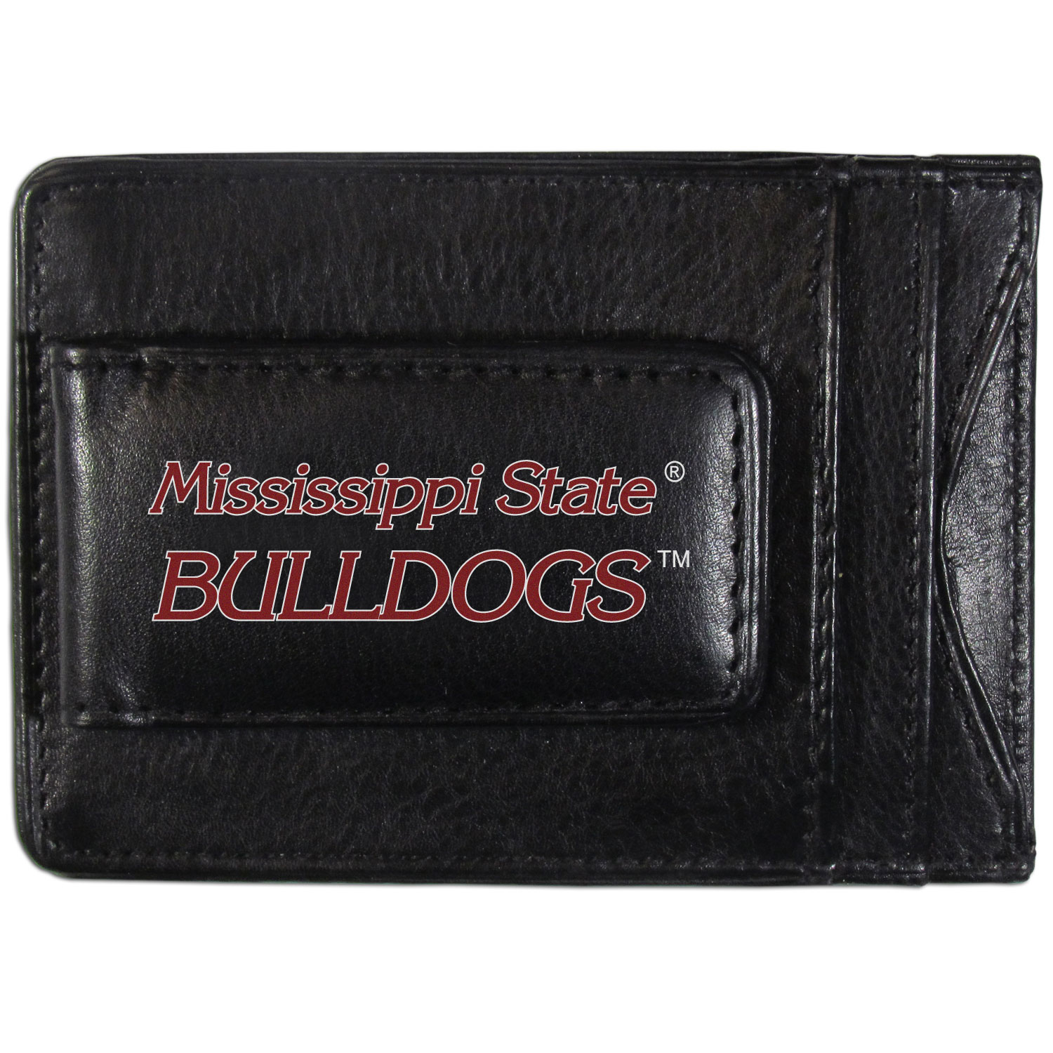 Mississippi St. Bulldogs Logo Leather Cash and Cardholder - This super slim leather wallet lets you have all the benefits of a money clip while keeping the organization of a wallet. On one side of this front pocket wallet there is a strong, magnetic money clip to keep your cash easily accessible and the?Mississippi St. Bulldogs team logo on the front. The versatile men's accessory is a perfect addition to your fan apparel.