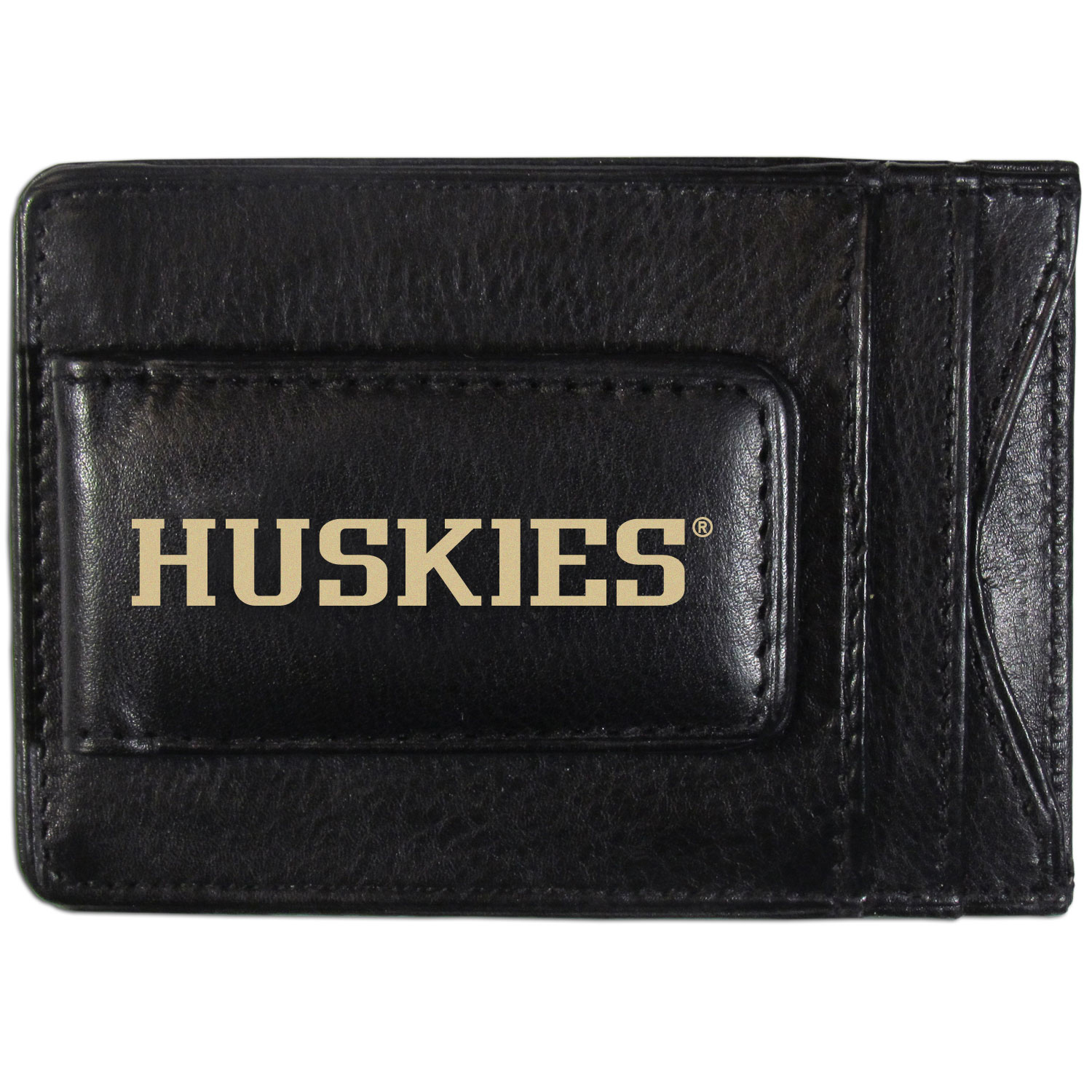 Washington Huskies Logo Leather Cash and Cardholder - This super slim leather wallet lets you have all the benefits of a money clip while keeping the organization of a wallet. On one side of this front pocket wallet there is a strong, magnetic money clip to keep your cash easily accessible and the?Washington Huskies team logo on the front. The versatile men's accessory is a perfect addition to your fan apparel.