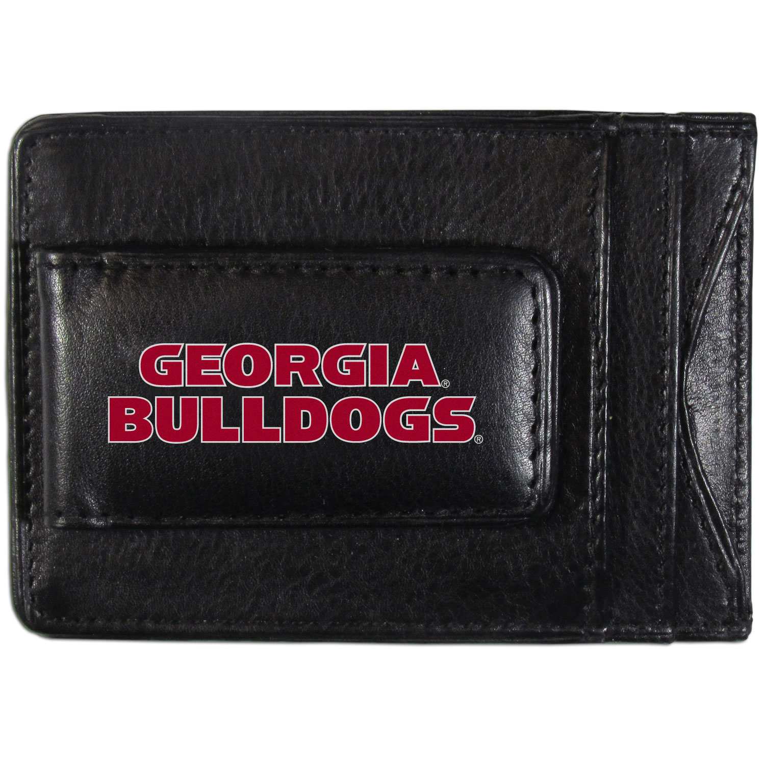 Georgia Bulldogs Logo Leather Cash and Cardholder - This super slim leather wallet lets you have all the benefits of a money clip while keeping the organization of a wallet. On one side of this front pocket wallet there is a strong, magnetic money clip to keep your cash easily accessible and the?Georgia Bulldogs team logo on the front. The versatile men's accessory is a perfect addition to your fan apparel.