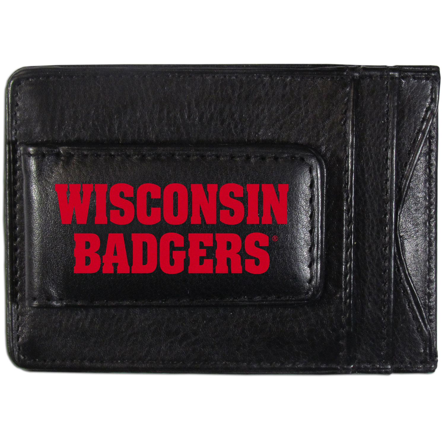 Wisconsin Badgers Logo Leather Cash and Cardholder - This super slim leather wallet lets you have all the benefits of a money clip while keeping the organization of a wallet. On one side of this front pocket wallet there is a strong, magnetic money clip to keep your cash easily accessible and the?Wisconsin Badgers team logo on the front. The versatile men's accessory is a perfect addition to your fan apparel.