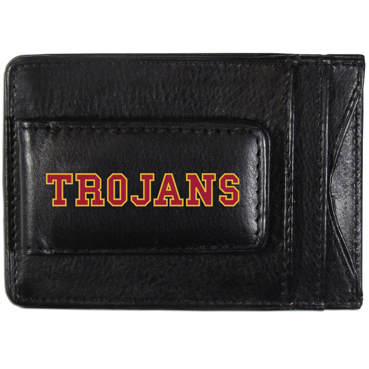 USC Trojans Logo Leather Cash and Cardholder - This super slim leather wallet lets you have all the benefits of a money clip while keeping the organization of a wallet. On one side of this front pocket wallet there is a strong, magnetic money clip to keep your cash easily accessible and the?USC Trojans team logo on the front. The versatile men's accessory is a perfect addition to your fan apparel.