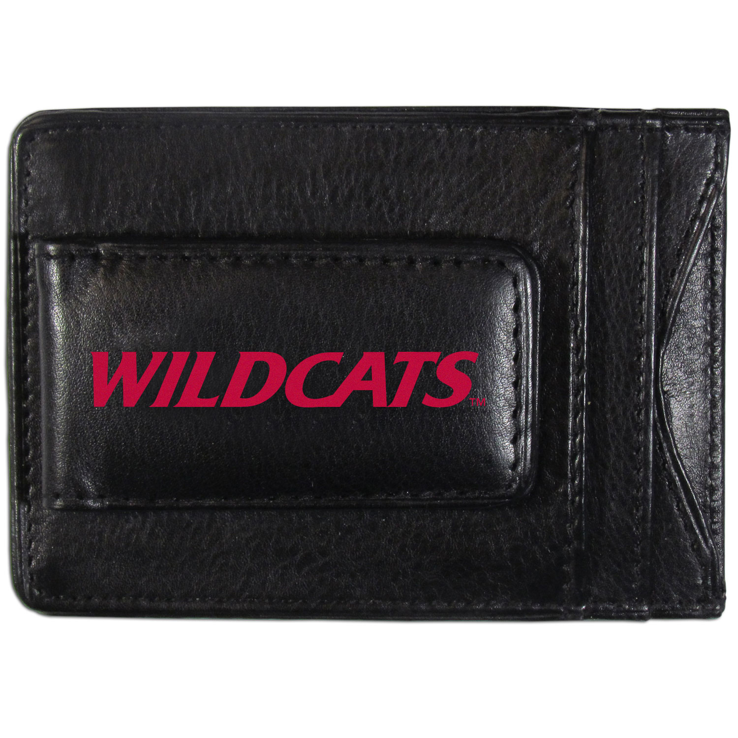 Arizona Wildcats Logo Leather Cash and Cardholder - This super slim leather wallet lets you have all the benefits of a money clip while keeping the organization of a wallet. On one side of this front pocket wallet there is a strong, magnetic money clip to keep your cash easily accessible and the?Arizona Wildcats team logo on the front. The versatile men's accessory is a perfect addition to your fan apparel.