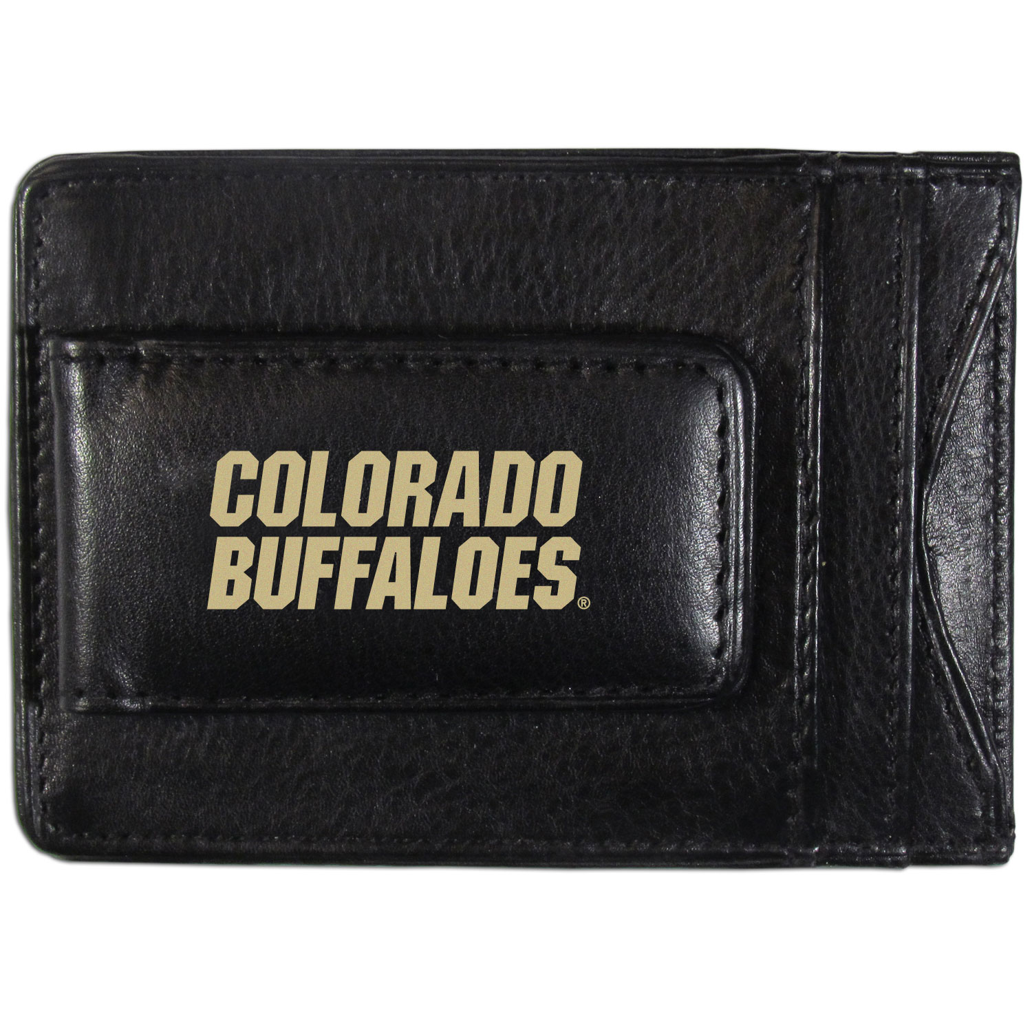 Colorado Buffaloes Logo Leather Cash and Cardholder - This super slim leather wallet lets you have all the benefits of a money clip while keeping the organization of a wallet. On one side of this front pocket wallet there is a strong, magnetic money clip to keep your cash easily accessible and the?Colorado Buffaloes team logo on the front. The versatile men's accessory is a perfect addition to your fan apparel.
