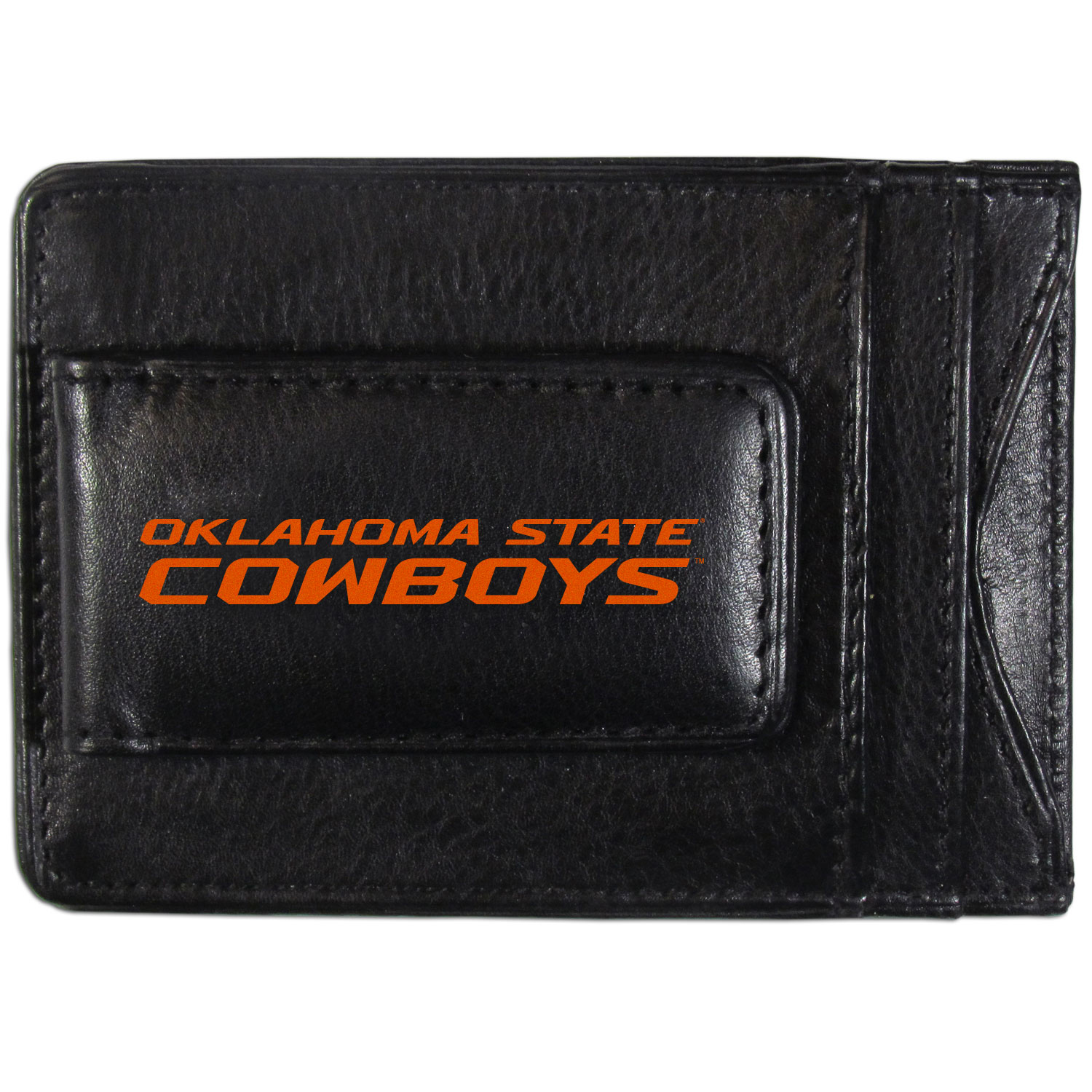Oklahoma St. Cowboys Logo Leather Cash and Cardholder - This super slim leather wallet lets you have all the benefits of a money clip while keeping the organization of a wallet. On one side of this front pocket wallet there is a strong, magnetic money clip to keep your cash easily accessible and the?Oklahoma St. Cowboys team logo on the front. The versatile men's accessory is a perfect addition to your fan apparel.