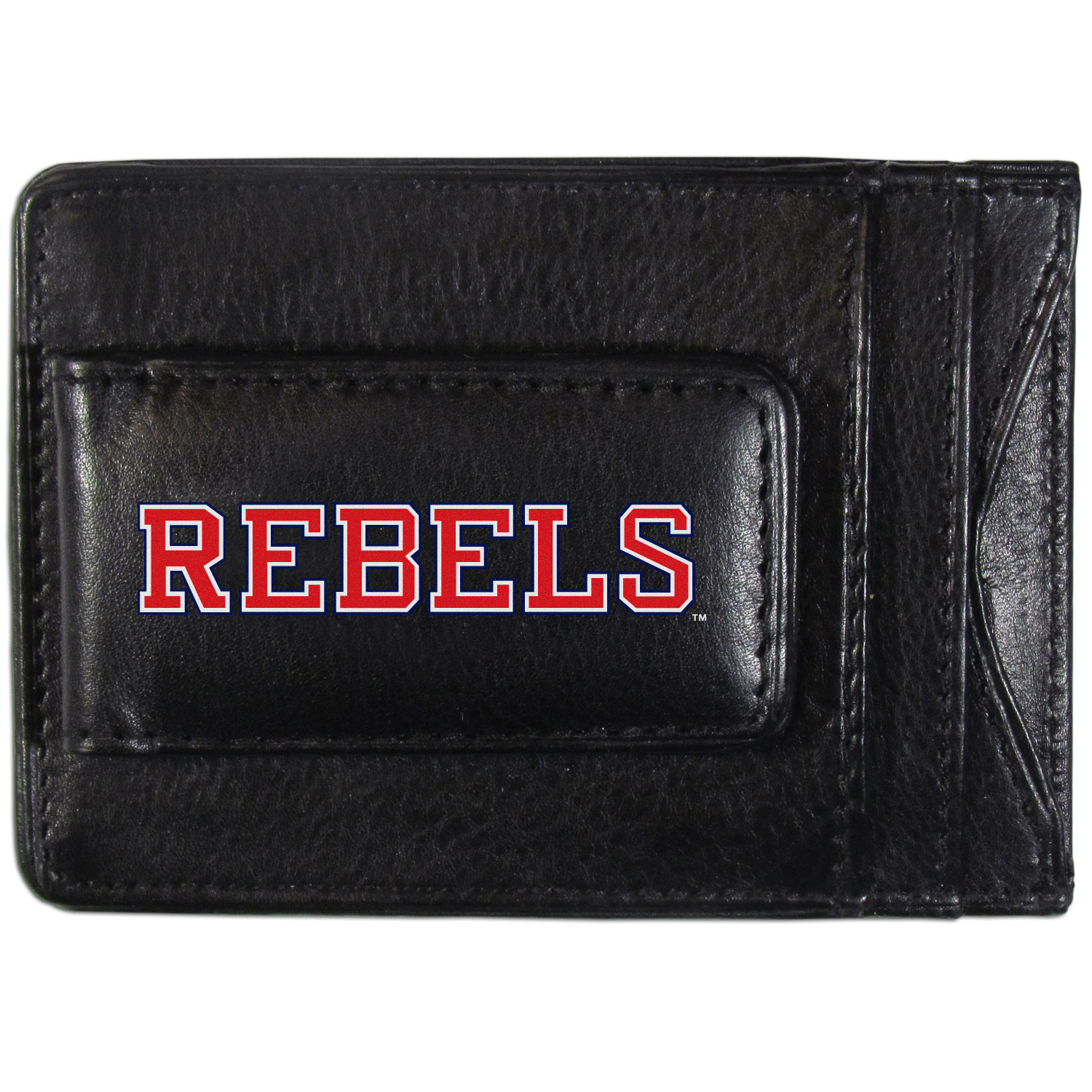 Mississippi Rebels Logo Leather Cash and Cardholder - This super slim leather wallet lets you have all the benefits of a money clip while keeping the organization of a wallet. On one side of this front pocket wallet there is a strong, magnetic money clip to keep your cash easily accessible and the?Mississippi Rebels team logo on the front. The versatile men's accessory is a perfect addition to your fan apparel.
