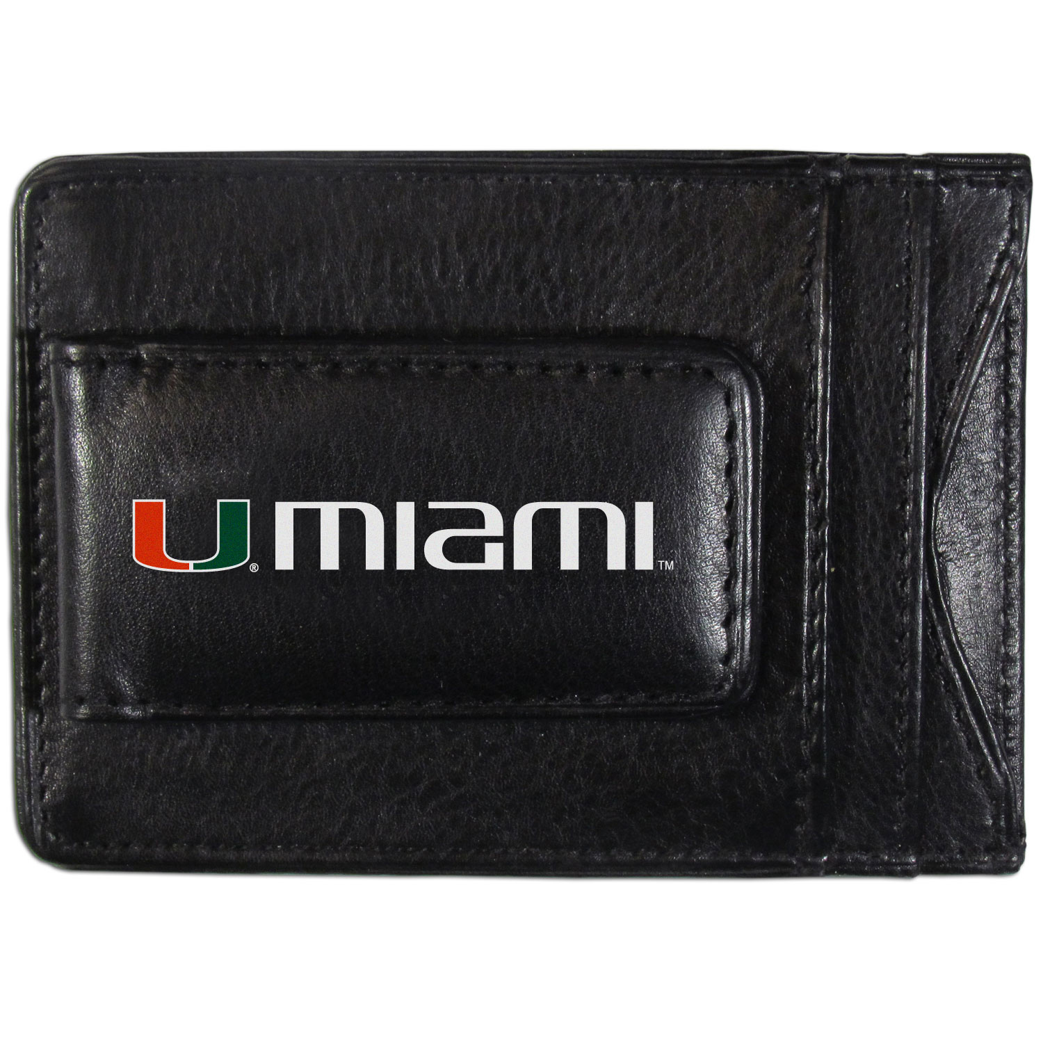 Miami Hurricanes Logo Leather Cash and Cardholder - This super slim leather wallet lets you have all the benefits of a money clip while keeping the organization of a wallet. On one side of this front pocket wallet there is a strong, magnetic money clip to keep your cash easily accessible and the?Miami Hurricanes team logo on the front. The versatile men's accessory is a perfect addition to your fan apparel.