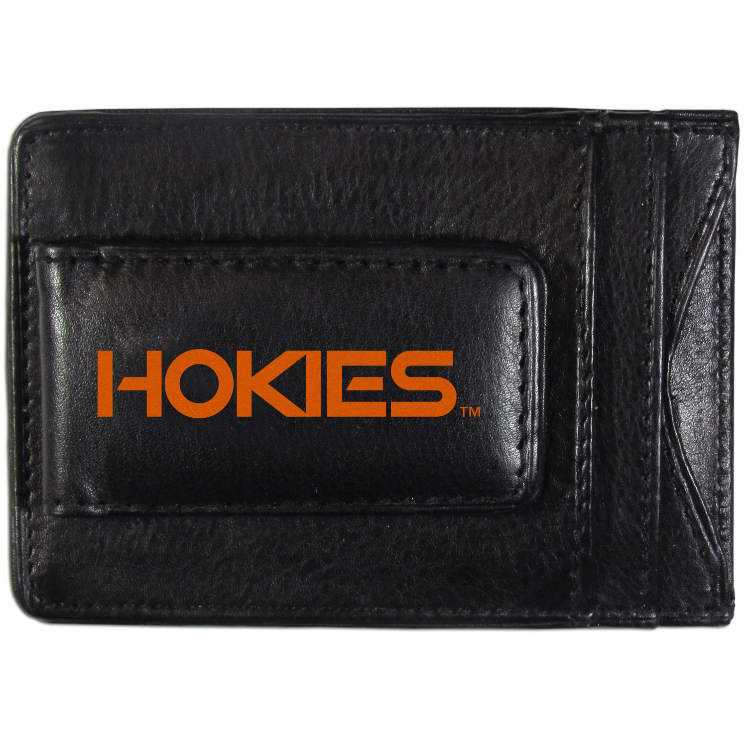 Virginia Tech Hokies Logo Leather Cash and Cardholder - This super slim leather wallet lets you have all the benefits of a money clip while keeping the organization of a wallet. On one side of this front pocket wallet there is a strong, magnetic money clip to keep your cash easily accessible and the?Virginia Tech Hokies team logo on the front. The versatile men's accessory is a perfect addition to your fan apparel.