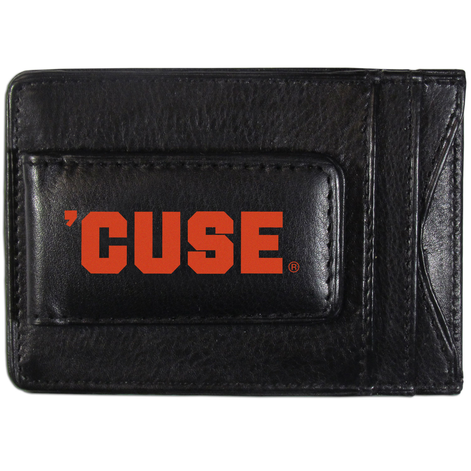 Syracuse Orange Logo Leather Cash and Cardholder - This super slim leather wallet lets you have all the benefits of a money clip while keeping the organization of a wallet. On one side of this front pocket wallet there is a strong, magnetic money clip to keep your cash easily accessible and the?Syracuse Orange team logo on the front. The versatile men's accessory is a perfect addition to your fan apparel.