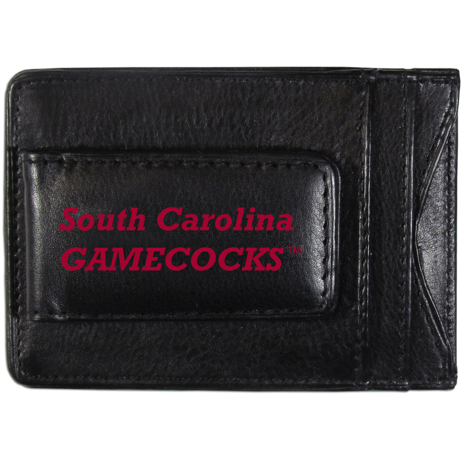 S. Carolina Gamecocks Logo Leather Cash and Cardholder - This super slim leather wallet lets you have all the benefits of a money clip while keeping the organization of a wallet. On one side of this front pocket wallet there is a strong, magnetic money clip to keep your cash easily accessible and the?S. Carolina Gamecocks team logo on the front. The versatile men's accessory is a perfect addition to your fan apparel.