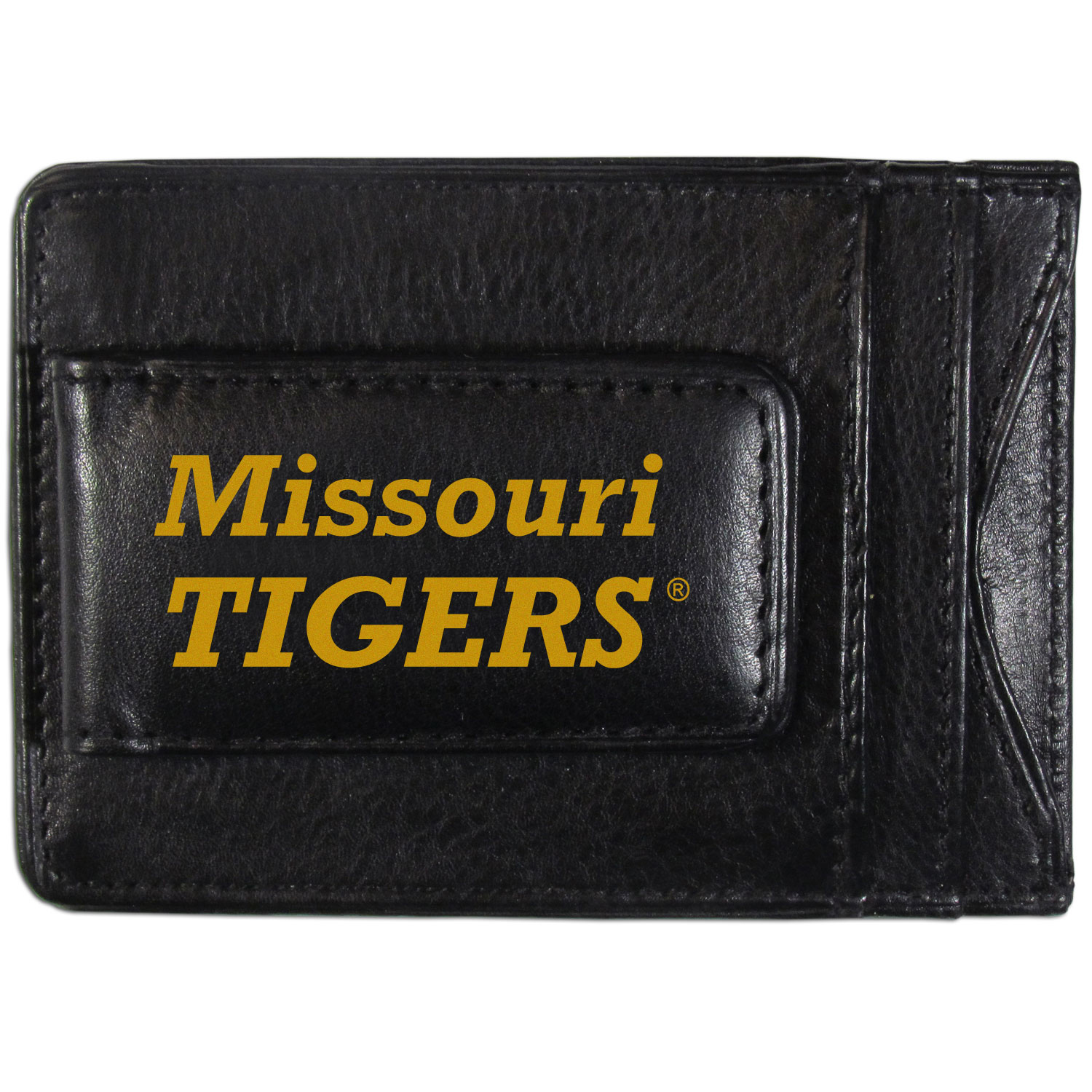 Missouri Tigers Logo Leather Cash and Cardholder - This super slim leather wallet lets you have all the benefits of a money clip while keeping the organization of a wallet. On one side of this front pocket wallet there is a strong, magnetic money clip to keep your cash easily accessible and the?Missouri Tigers team logo on the front. The versatile men's accessory is a perfect addition to your fan apparel.