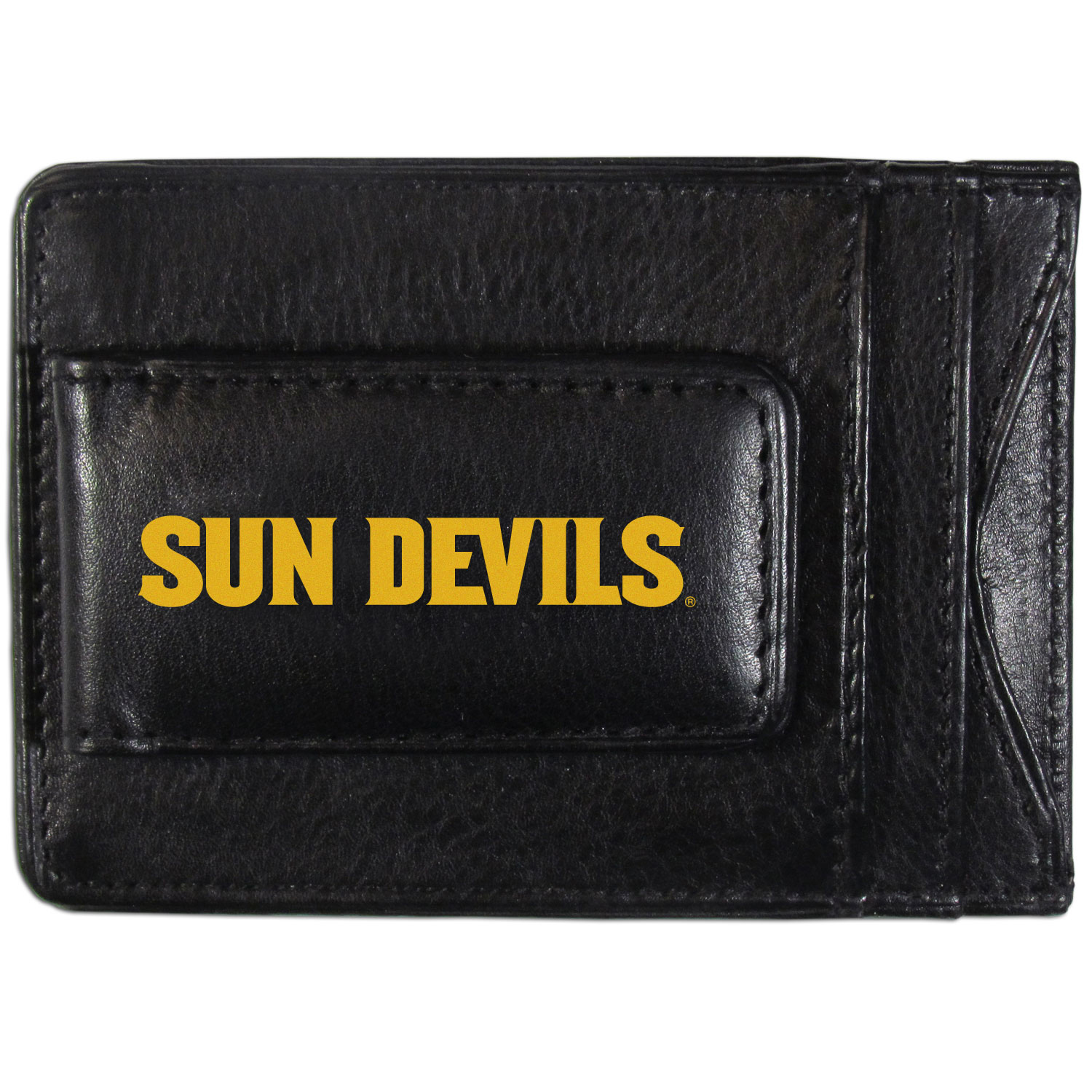 Arizona St. Sun Devils Logo Leather Cash and Cardholder - This super slim leather wallet lets you have all the benefits of a money clip while keeping the organization of a wallet. On one side of this front pocket wallet there is a strong, magnetic money clip to keep your cash easily accessible and the?Arizona St. Sun Devils team logo on the front. The versatile men's accessory is a perfect addition to your fan apparel.