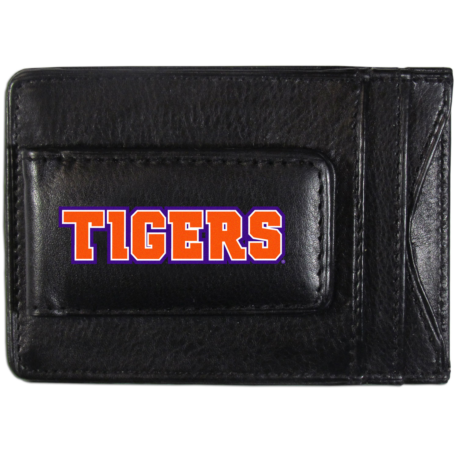 Clemson Tigers Logo Leather Cash and Cardholder - This super slim leather wallet lets you have all the benefits of a money clip while keeping the organization of a wallet. On one side of this front pocket wallet there is a strong, magnetic money clip to keep your cash easily accessible and the?Clemson Tigers team logo on the front. The versatile men's accessory is a perfect addition to your fan apparel.