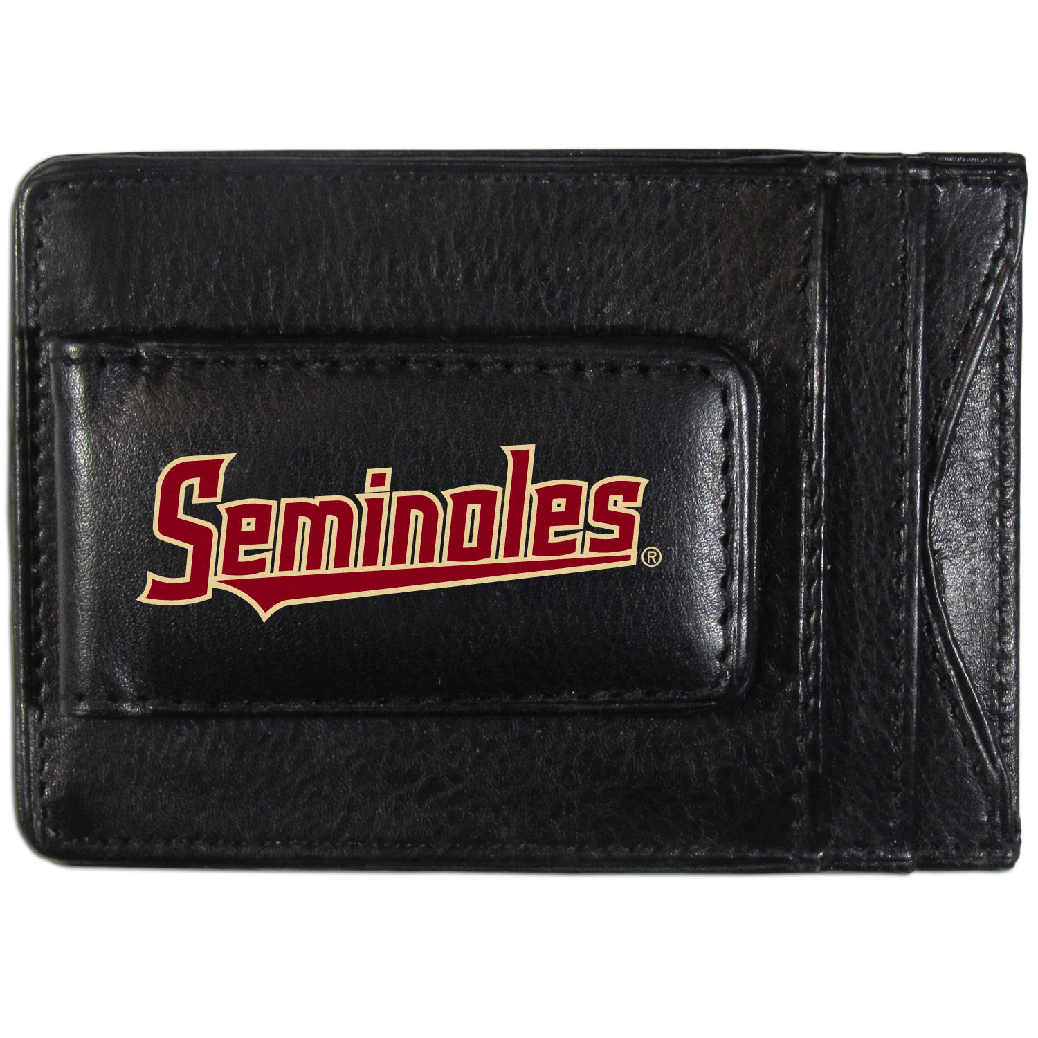 Florida St. Seminoles Logo Leather Cash and Cardholder - This super slim leather wallet lets you have all the benefits of a money clip while keeping the organization of a wallet. On one side of this front pocket wallet there is a strong, magnetic money clip to keep your cash easily accessible and the?Florida St. Seminoles team logo on the front. The versatile men's accessory is a perfect addition to your fan apparel.