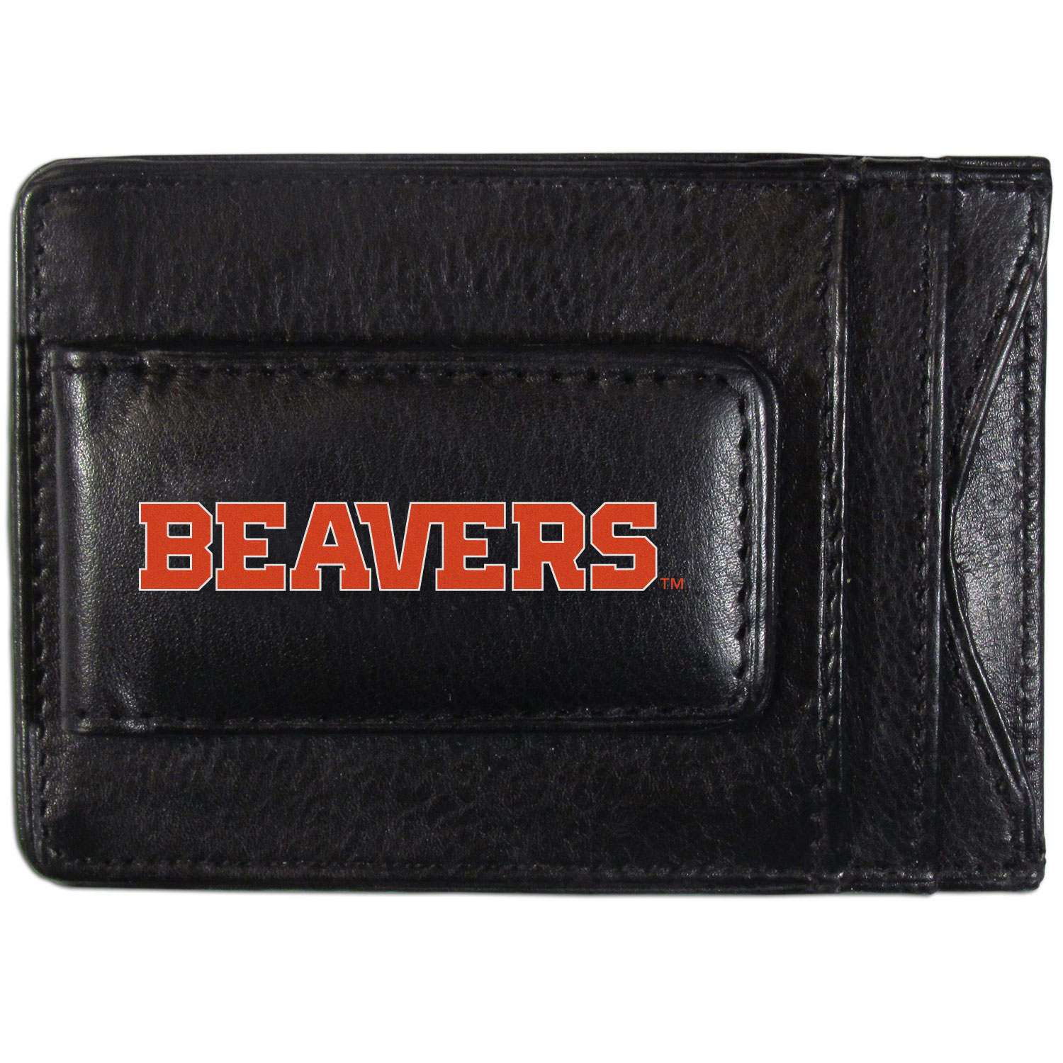 Oregon St. Beavers Logo Leather Cash and Cardholder - This super slim leather wallet lets you have all the benefits of a money clip while keeping the organization of a wallet. On one side of this front pocket wallet there is a strong, magnetic money clip to keep your cash easily accessible and the?Oregon St. Beavers team logo on the front. The versatile men's accessory is a perfect addition to your fan apparel.